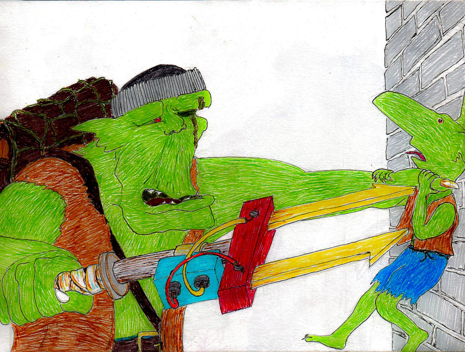 Drawing, Graphic, Grots, Humour, Illustration, Orks, Sketch
