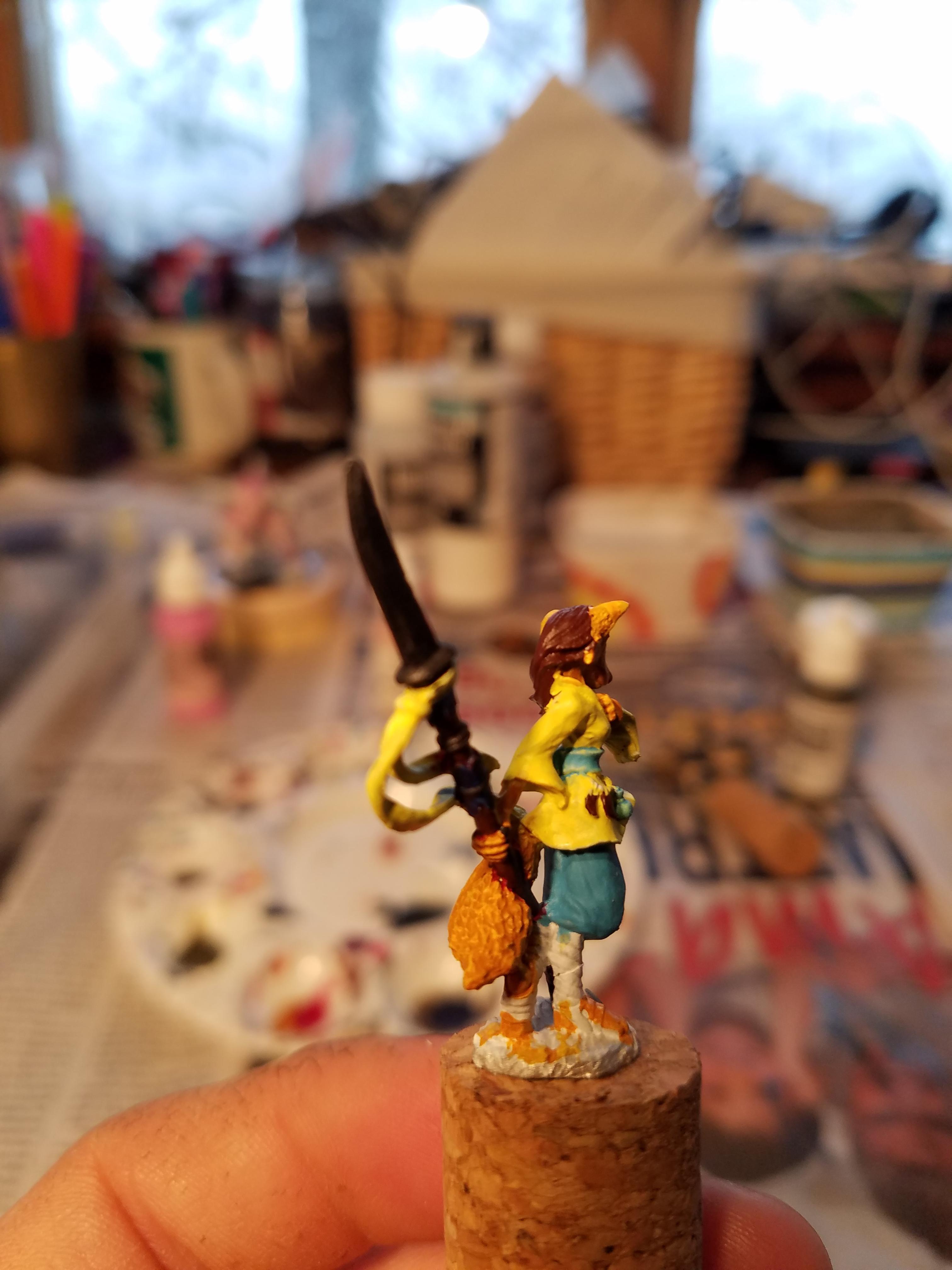 Base Coat, Female, Foxgirl, Kitsune, Polearm, Reaper, Work In Progress, Yellow