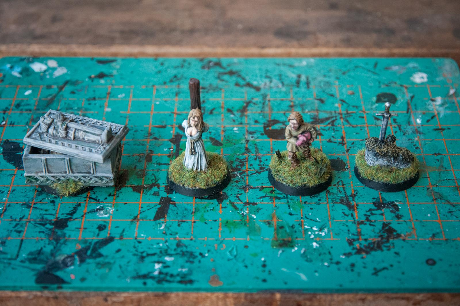 Counter, Kings Of War, Loot, Objective Marker, Peasant, Pig, Stake, Stone, Sword, Tomb