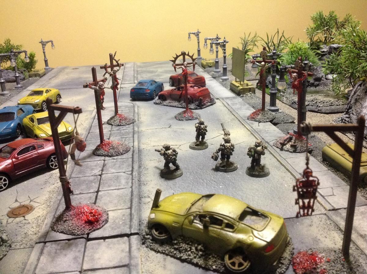 Cars, City, Cruicifiction, Grimdark, Road