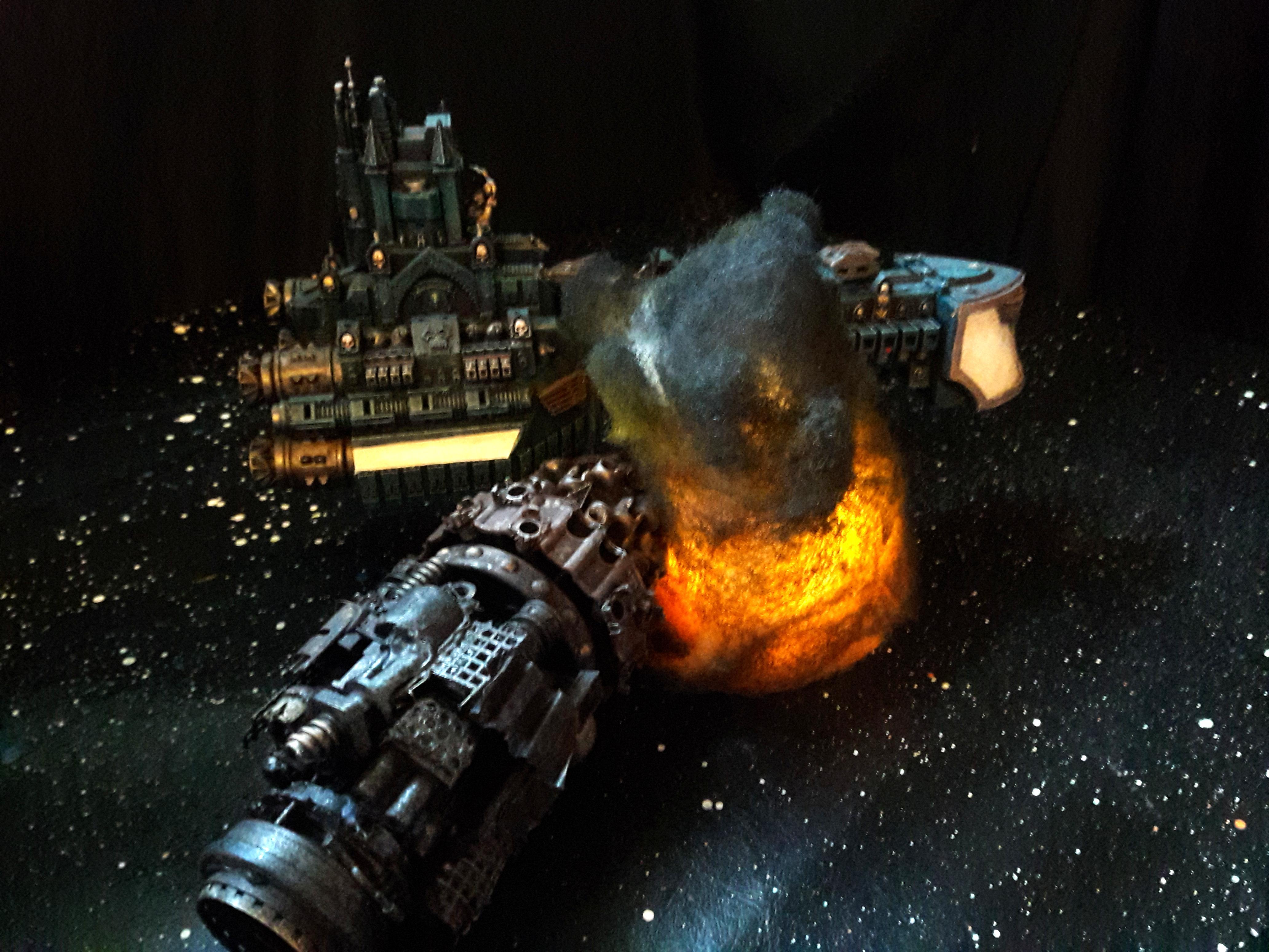 Battlefleet Gothic, Cruiser, Drill Ship, Orks, Rogue Trader Rpg, Scratch Build