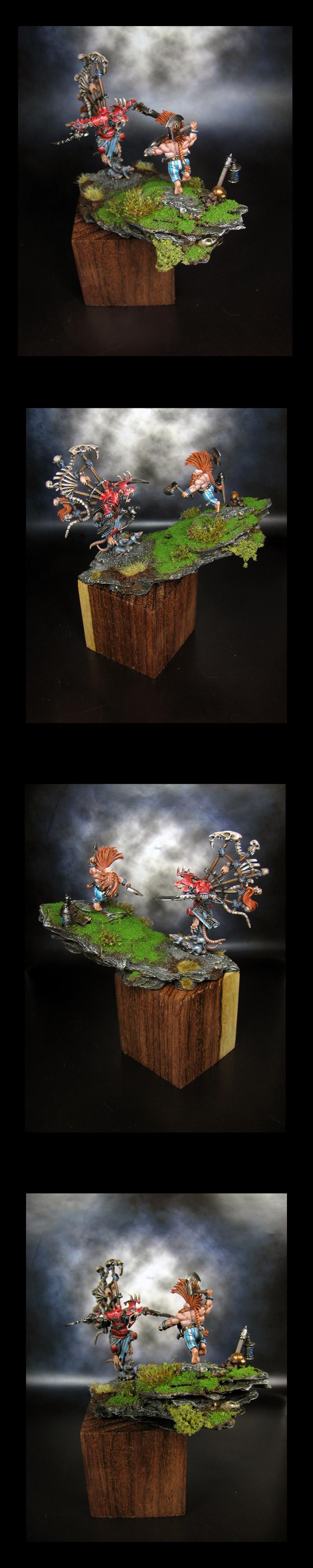 Diorama, Duel, Dwarves, Skaven, Warhammer Fantasy