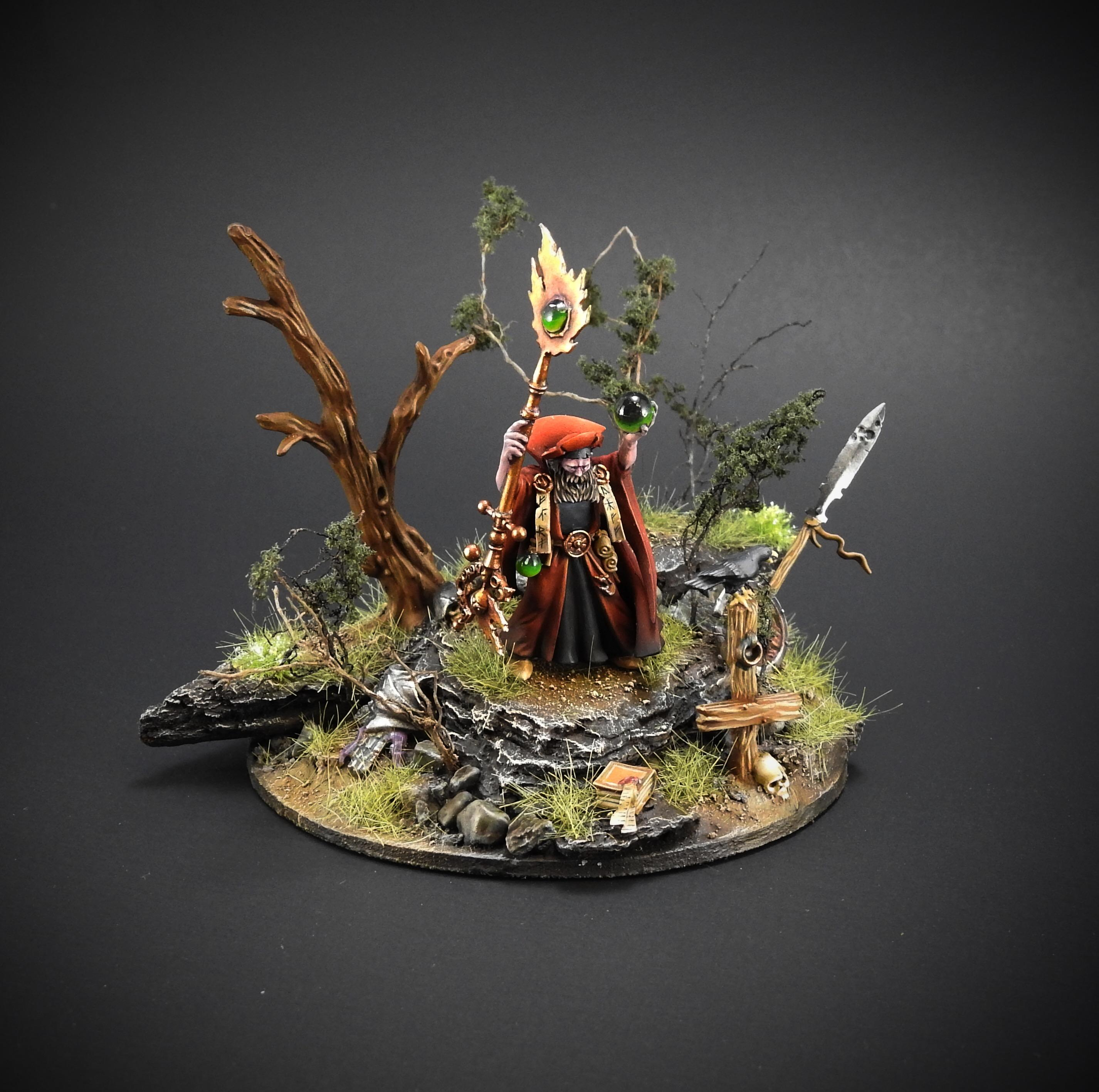 Crystal Ball, Red Wizard, Trees, Warhammer Fantasy
