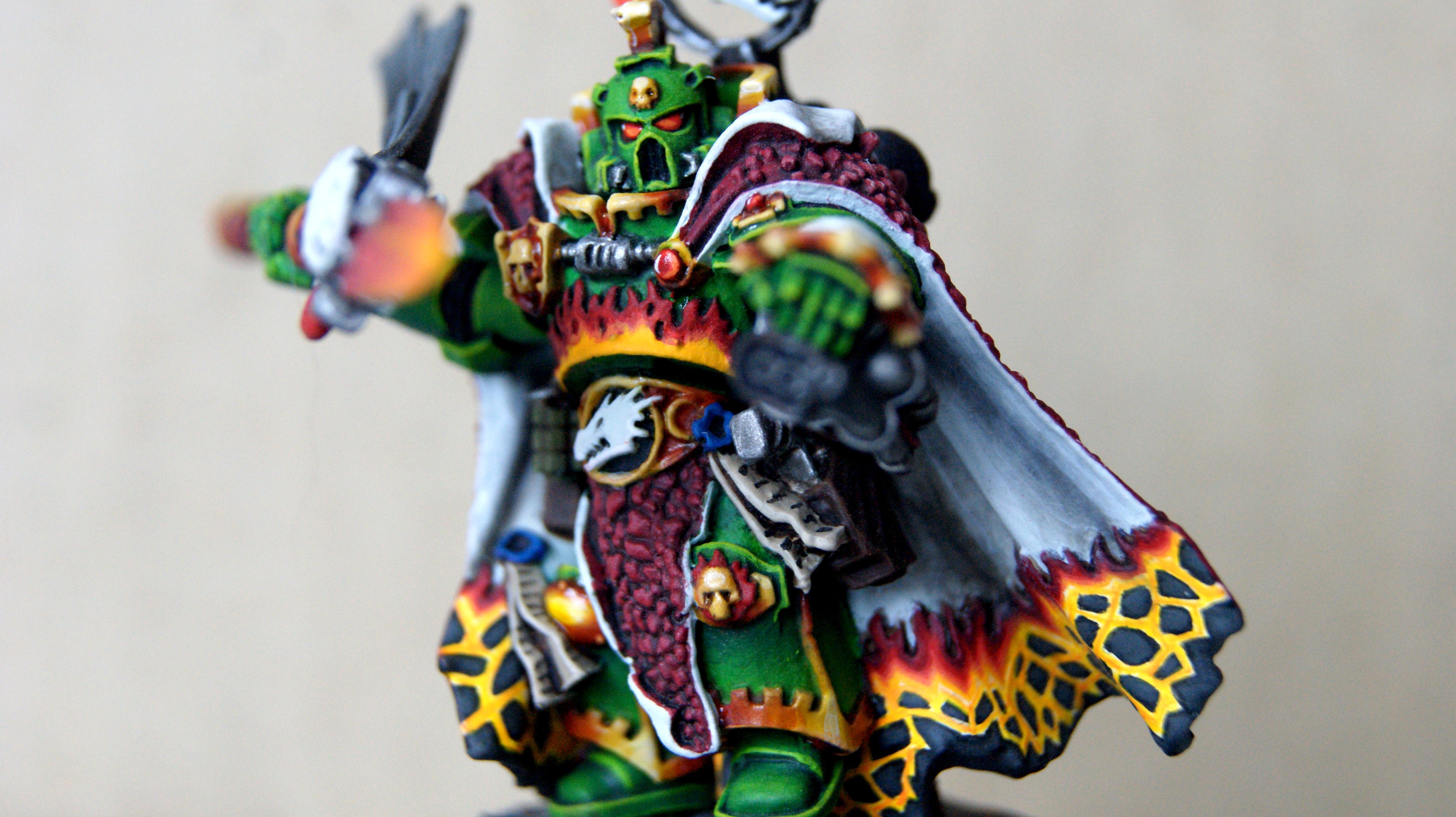 Character, Flames, Freehand, Gold, Green, Non Metalic Metal, Non-Metallic Metal, Salamanders, Space Marines, Vehicle, Vulkan, Vulkan Hestan