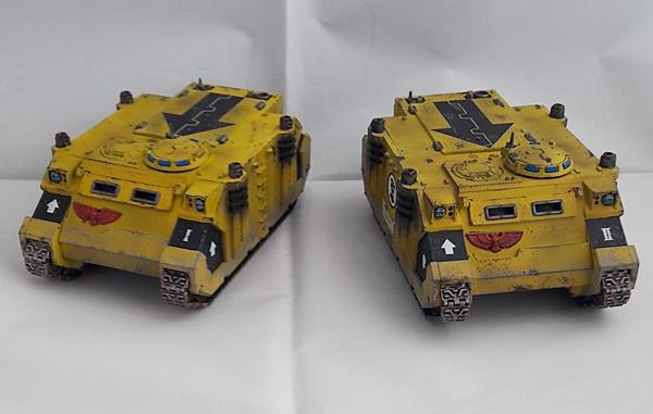 Imperial Fists, Razorback, Rhino, Space Marines, Weathered