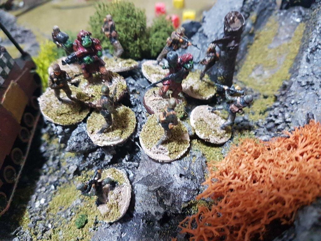 Guard firepower causes heavy Ork Casualties