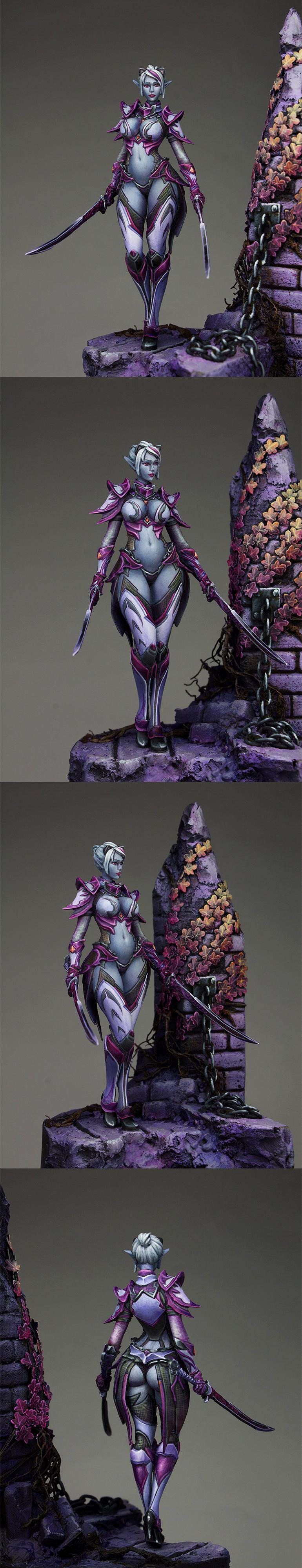 75mm, Bladedancer, Dark Elves, Lineage 2, Pro-painted