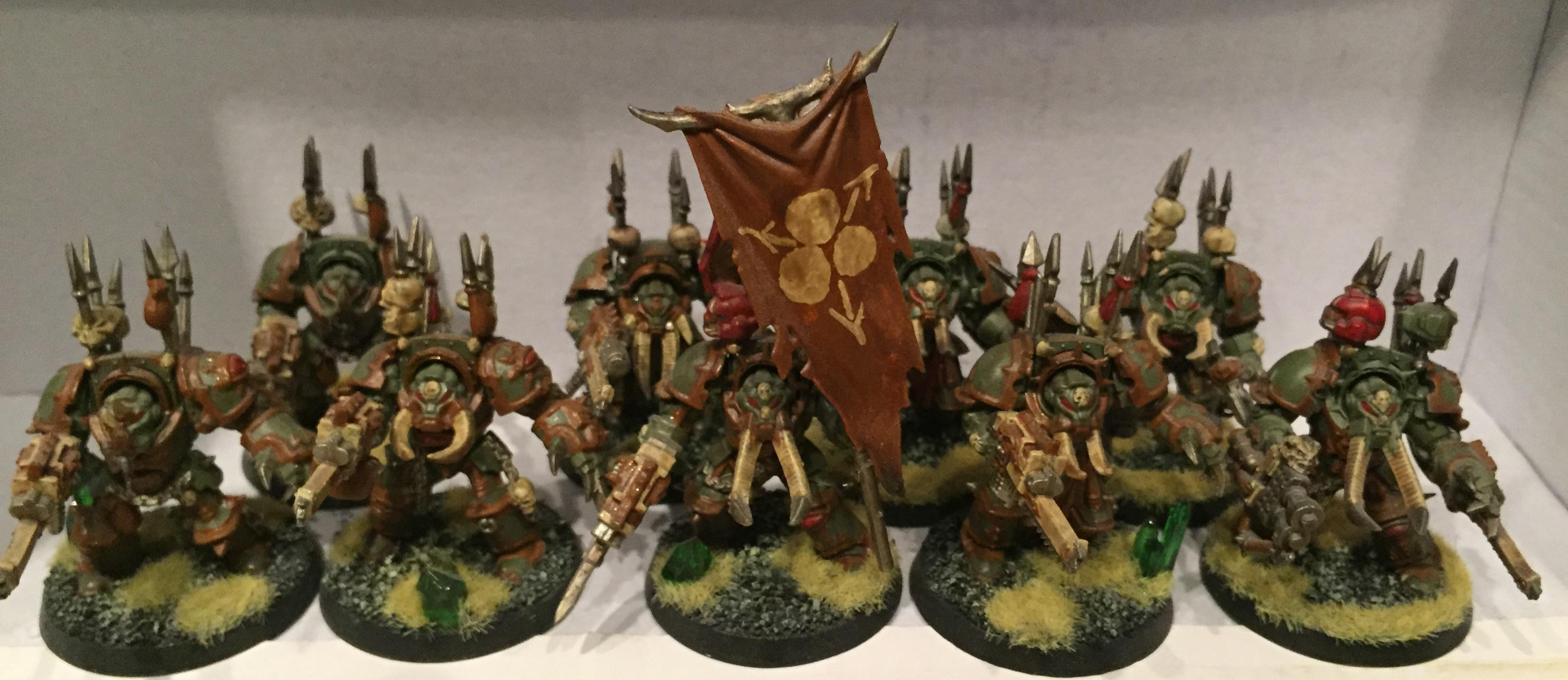 Chaos, Chaos Space Marines, Dipped, Nurgle, Petrifications, Terminator Armor, Warhammer 40,000