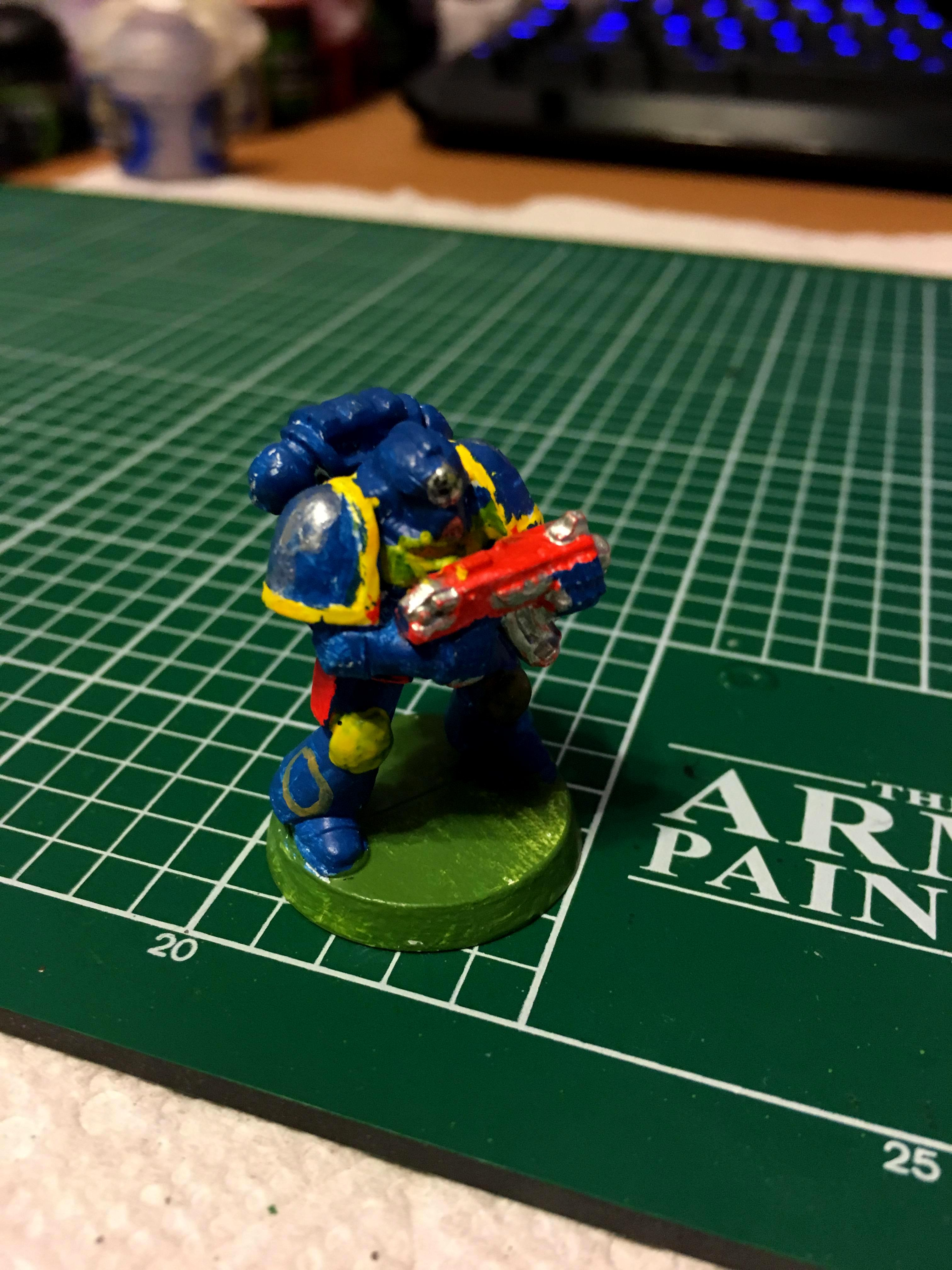 2nd Edition, Army Painter, Beginner, Cool, Everything, Finished, First Model, Hot, Mini, Miniature, New Painter, Not Specific, Painting, Random, Son, Space Marines, Tactical Squad, Ultramarines, Upload, Work In Progress, Young