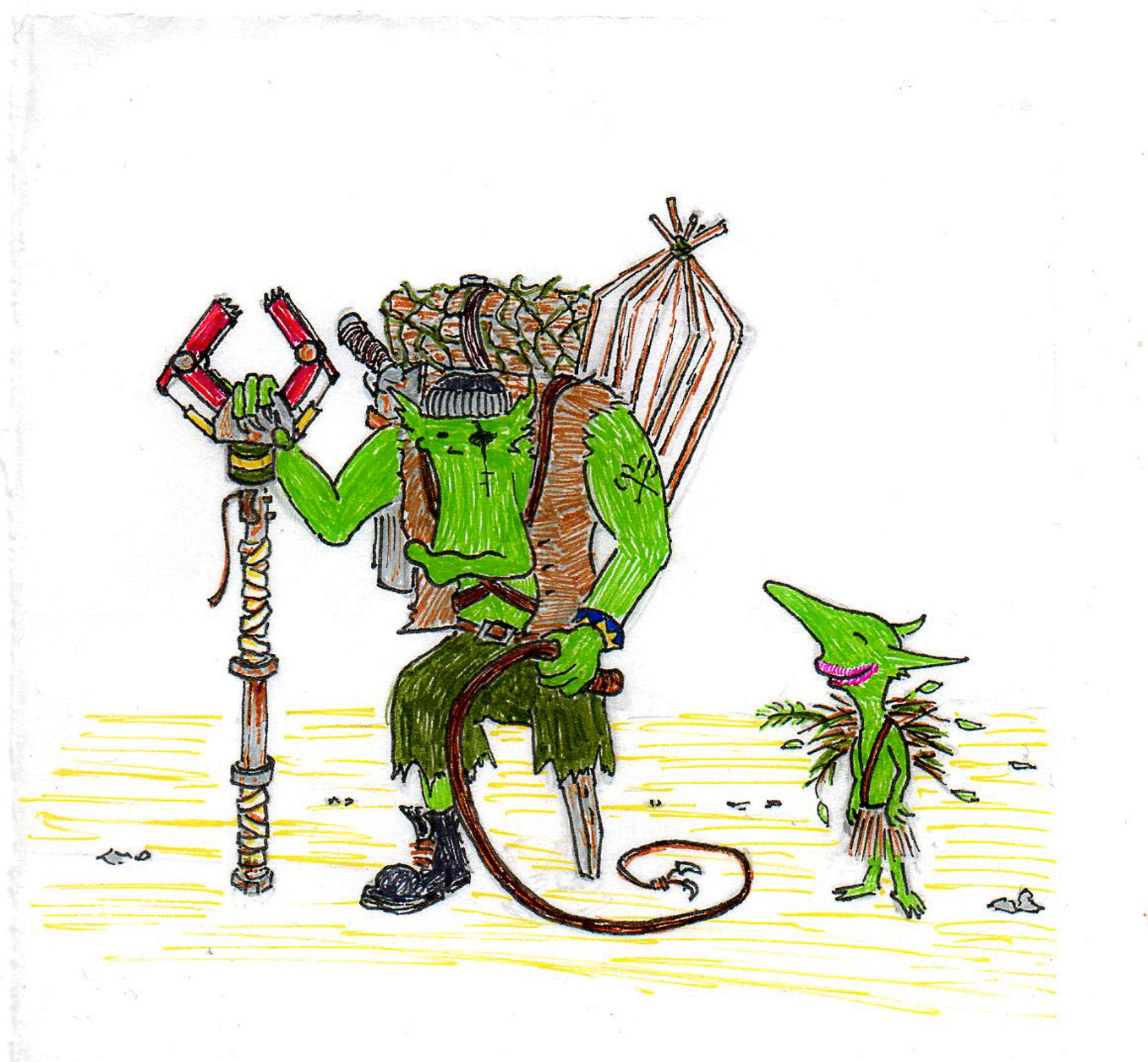 Artwork, Cartoon, Comedy, Comic, Drawing, Fiction, Grots, Humour, Illustration, Ink, Orks, Sketch, Warhammer 40,000