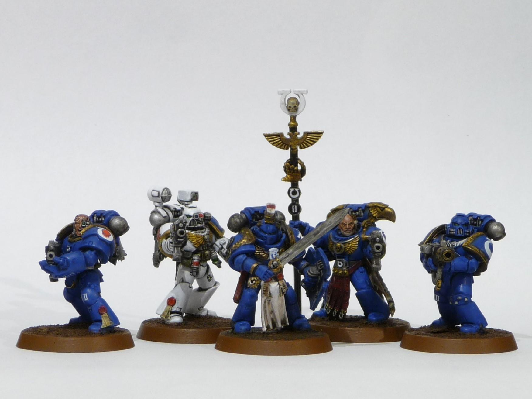 Ancient, Apothecary, Command Squad, Company Champion, Meltagun, Space Marines, Ultramarines, Veteran Sergeant