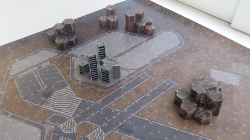 Proof of concept of buildings and mountains in a battletech mat