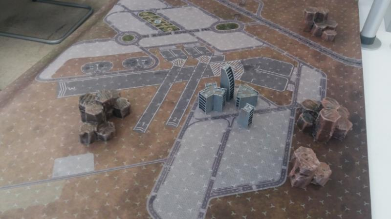 Battletech, Proof of concept of buildings and mountains in a battletech mat