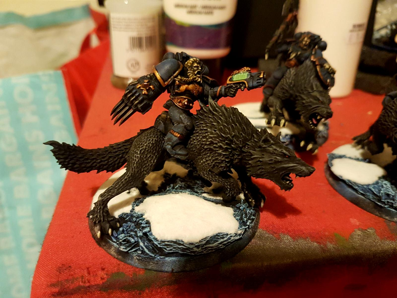 Base, Painting, Snow, Space Marines, Space Wolves, Thunderwolf Cavalry, Warhammer 40,000, Wolf Lord