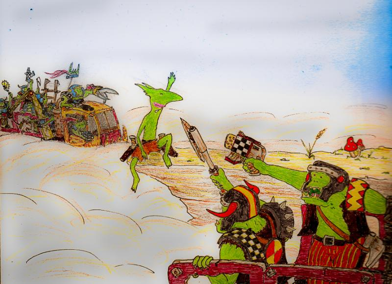 Artwork, Cartoon, Comedy, Comic, Drawing, Fiction, Grots, Illustration, Ink, Orks, Warhammer 40,000