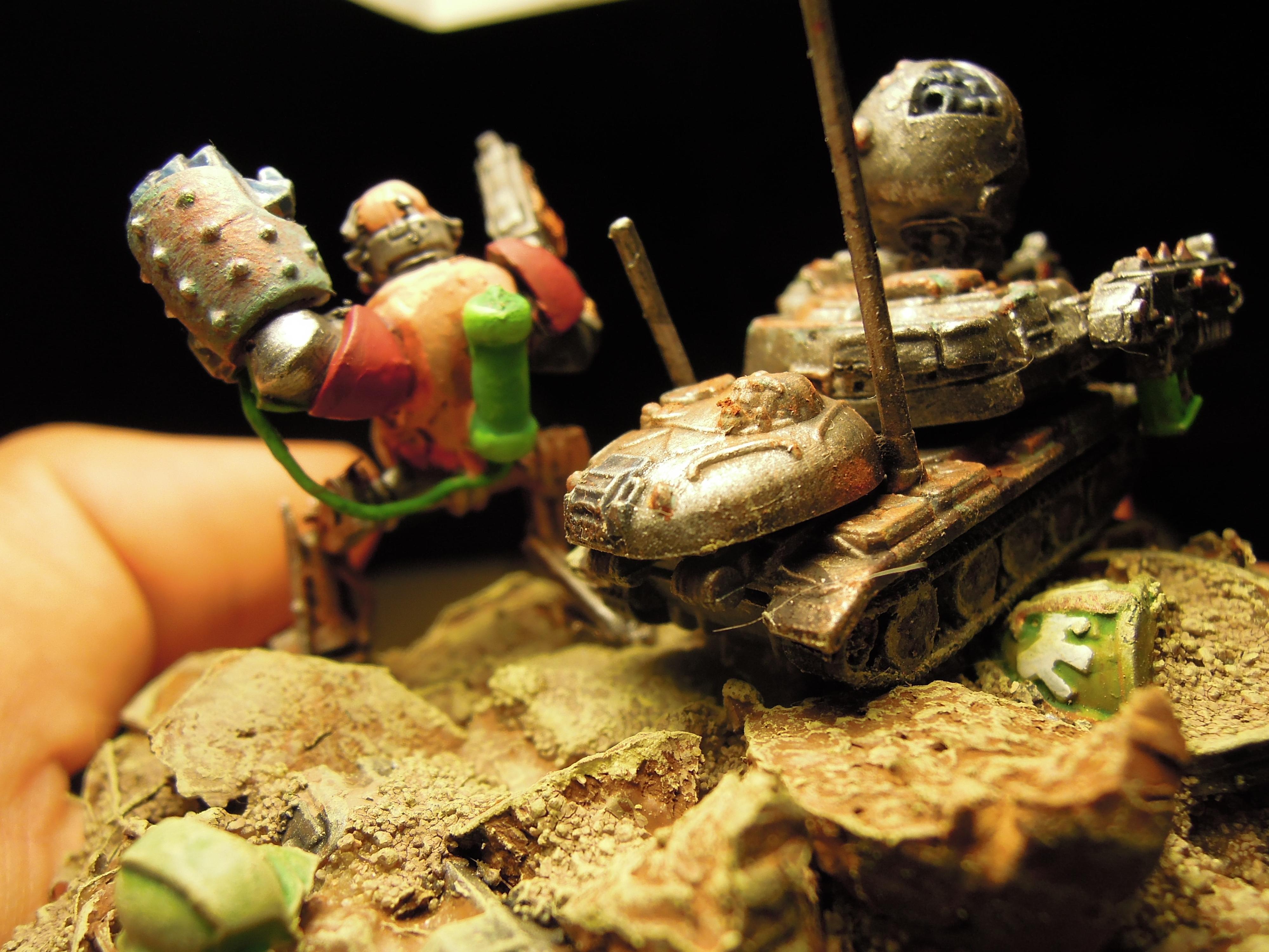 Admech, Bolter, Chaos, Conversion, Cyborg, Dark Mechanicus, Heresy, Kitbash, Power Fist, Retinue, Scratch Build, Servitors, Strogg, Tank, Warhammer 40,000