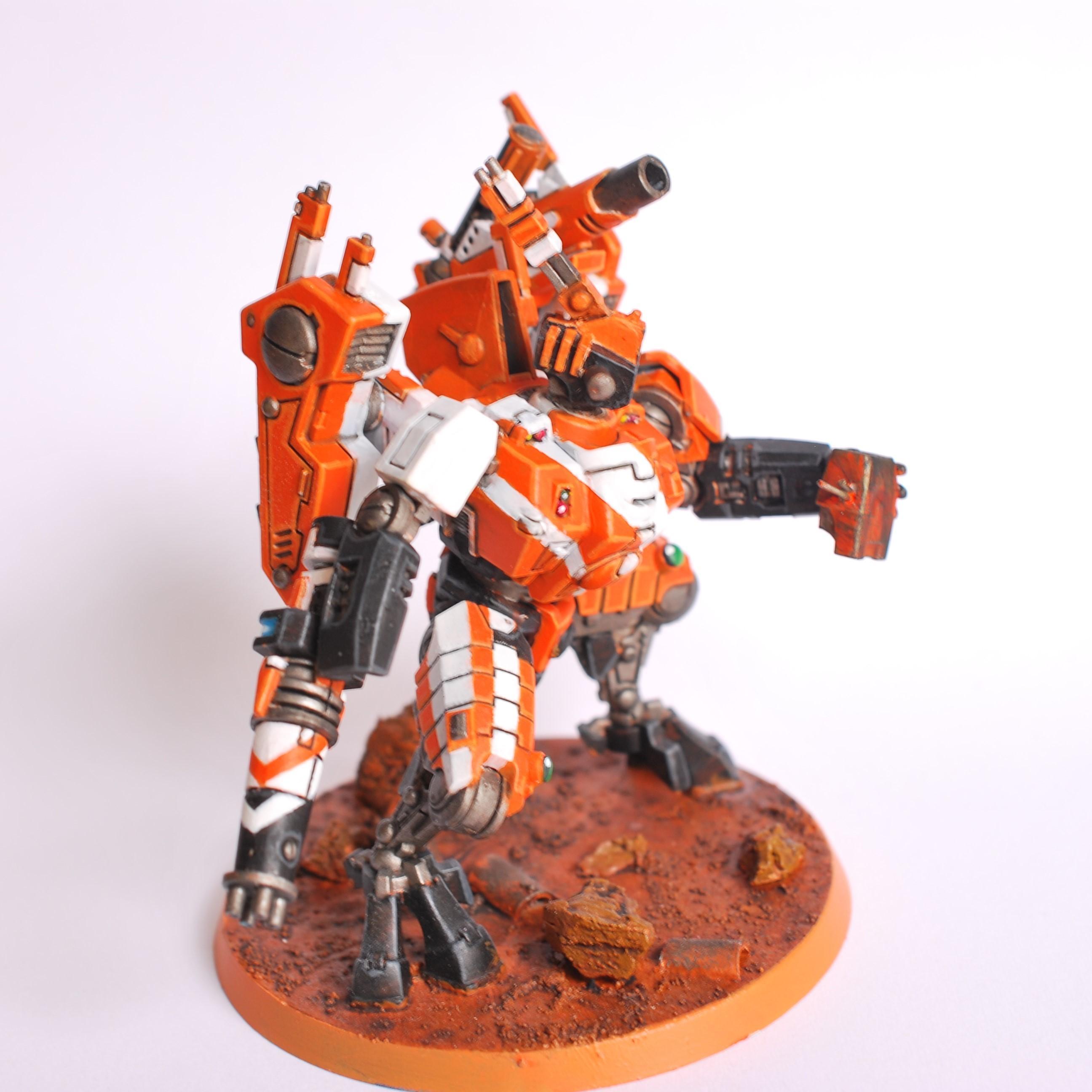 Air Bursting Fragmentation Projector, Battlesuit, Commander, New Tau Commander, Orange And White Tau Commander, Orange Tau Commander, Tau