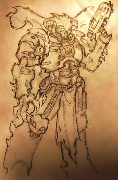 Artwork, Chaos, Chaos Space Marines, Concept, Drawing, Sketch, Space Marines