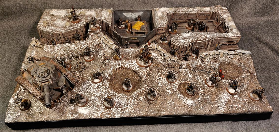 Armies On Parade, Astra Militarum, Barbed Wire, Bunker, Death Korps of Krieg, Death Rider, Leman Russ, Sandbag, Snow, Terrain, Trench, Warhammer 40,000, Winter