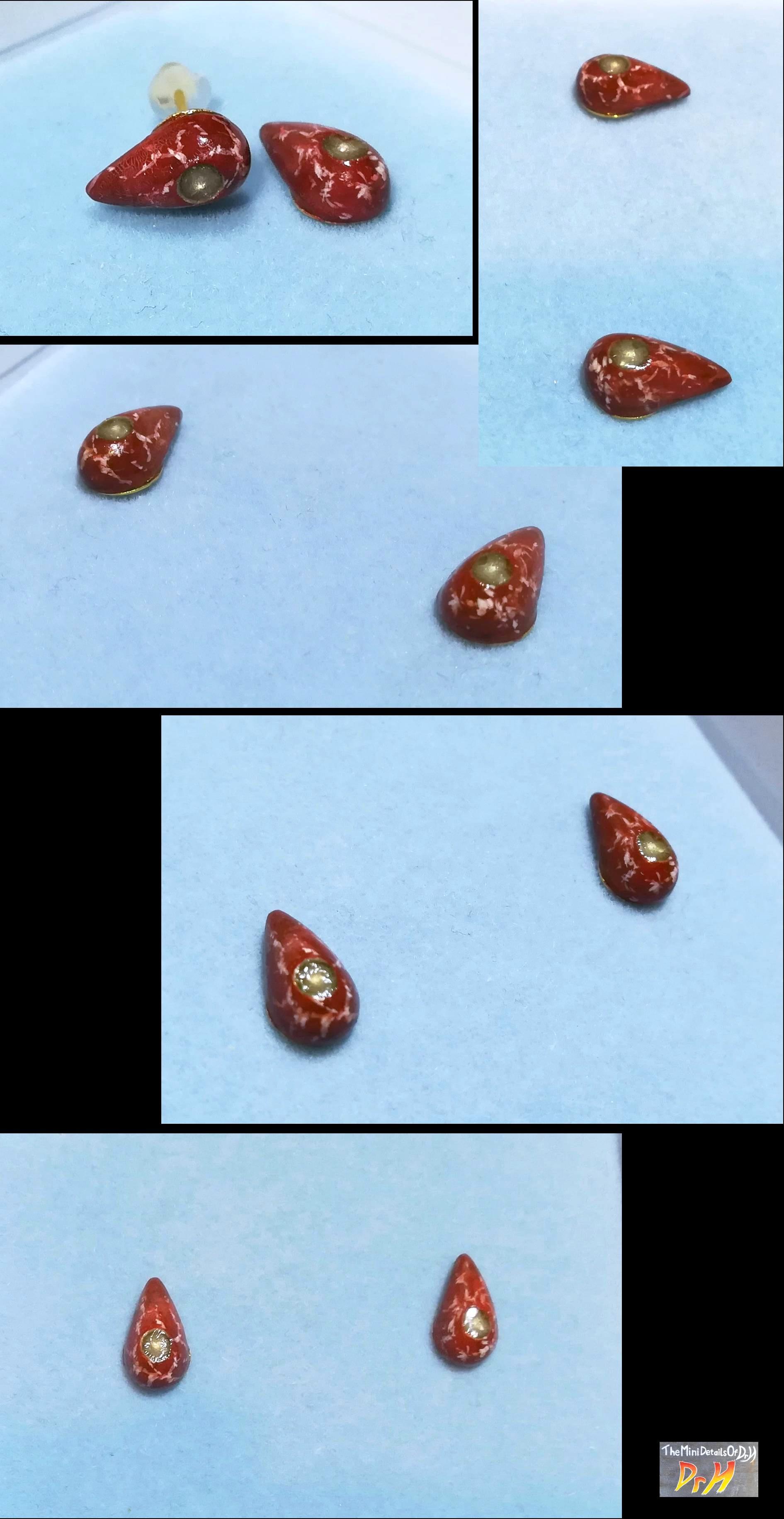 Red marble, blood drop earrings