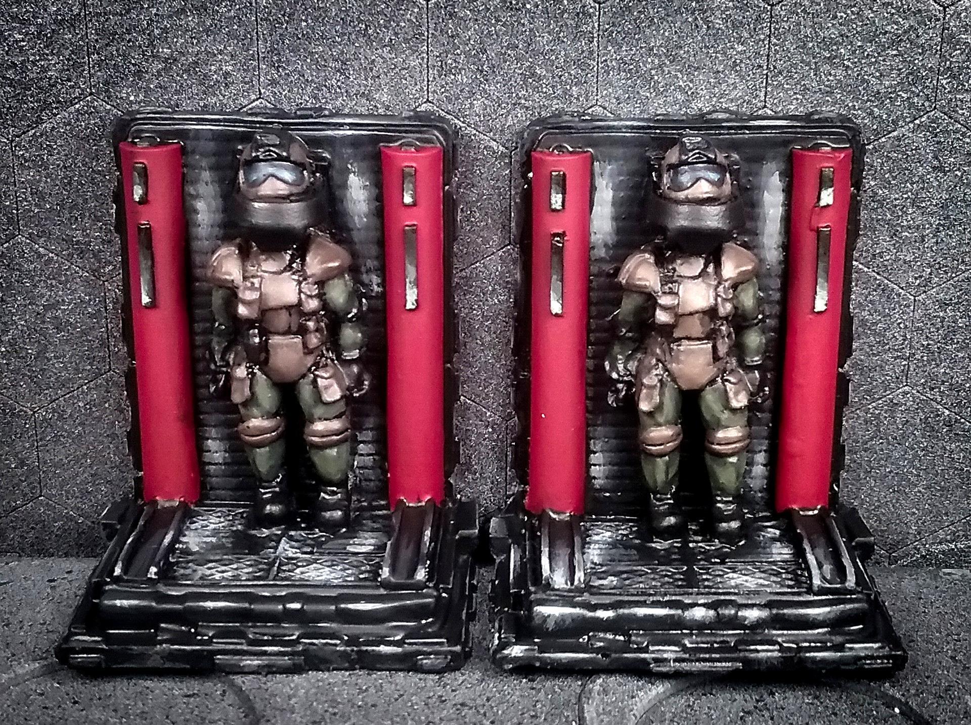 28mm Battlestar Galactica Miniatures, Ainsty Castings, Ainsty Castings Starport Terrain, Battlestar Galactica Miniatures, Flight Suits, Sci Fi Flight Suits, Sci Fi Terrain, Space Suits, Space Suits In Rack, Terrain