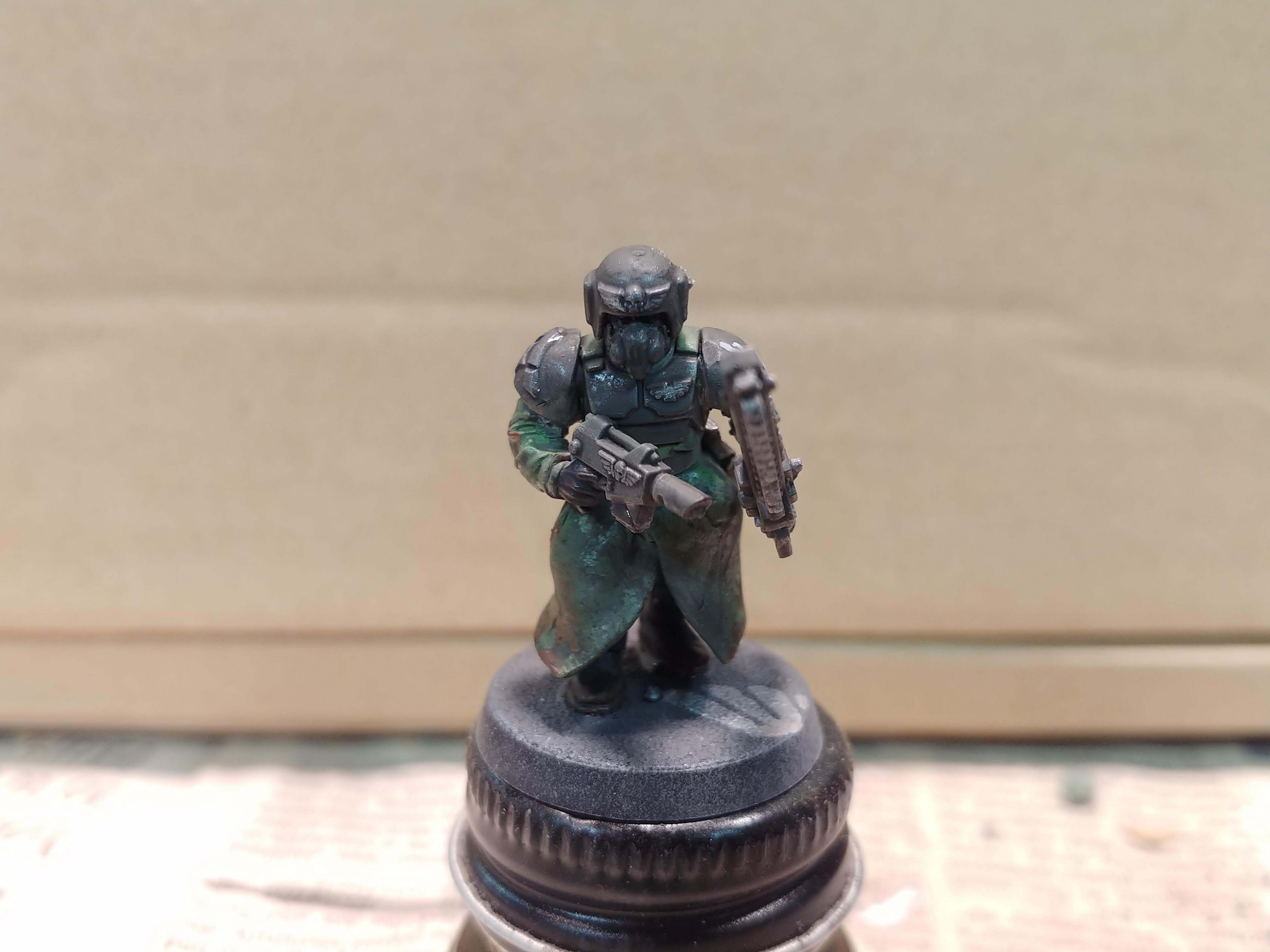 Am, Astra Militarum, Chainsword, Coat, Guardsmen, Imperial Guard, Infantry, Long, Longcoat, Respirator, Sergeant, Trench, Trenchcoat