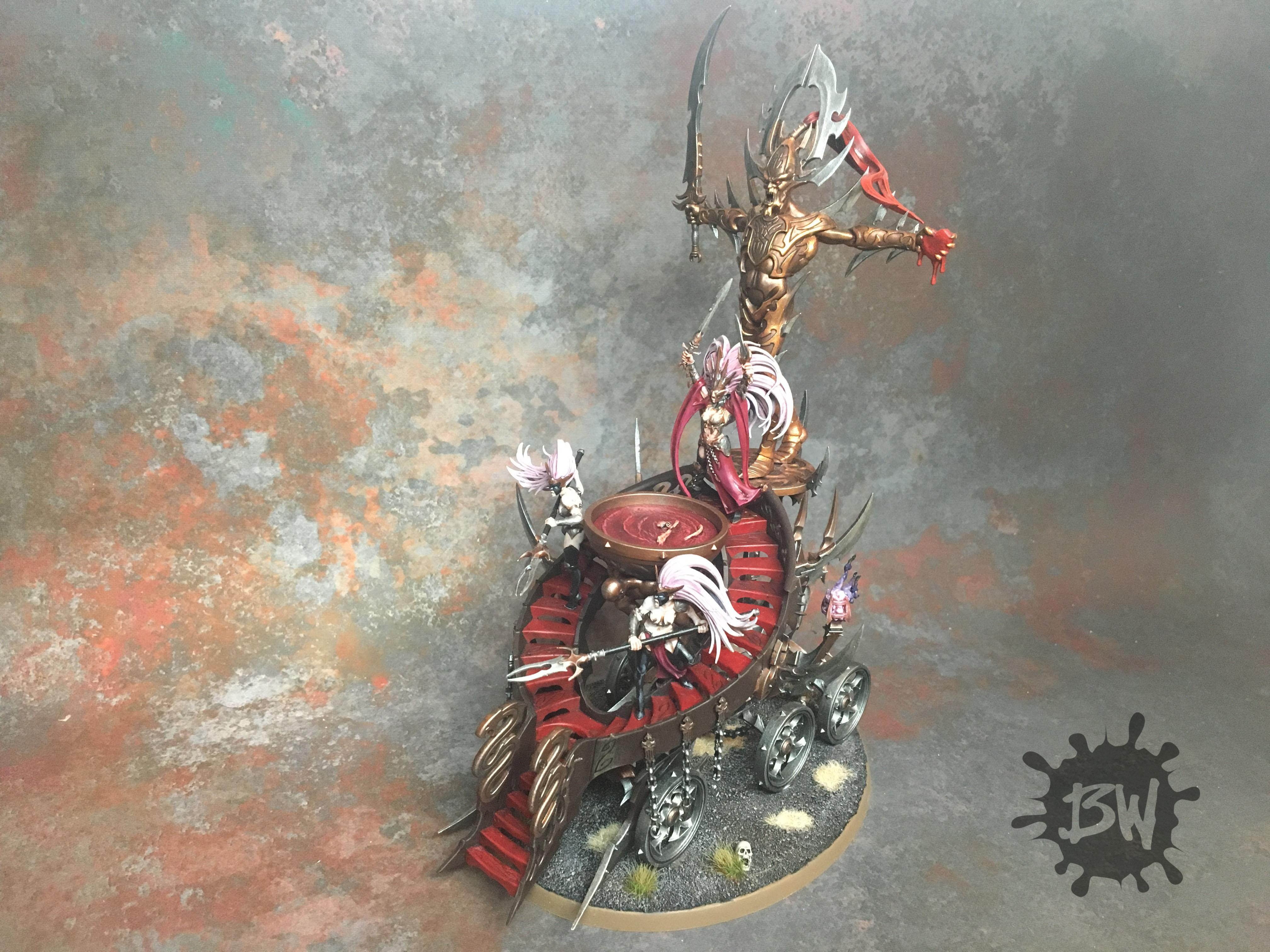 Age Of Sigmar, Bw, Daughters Of Khaine, Games Workshop, Order, Painting, Slaughter Queen On Cauldron Of Blood, Warhammer Fantasy