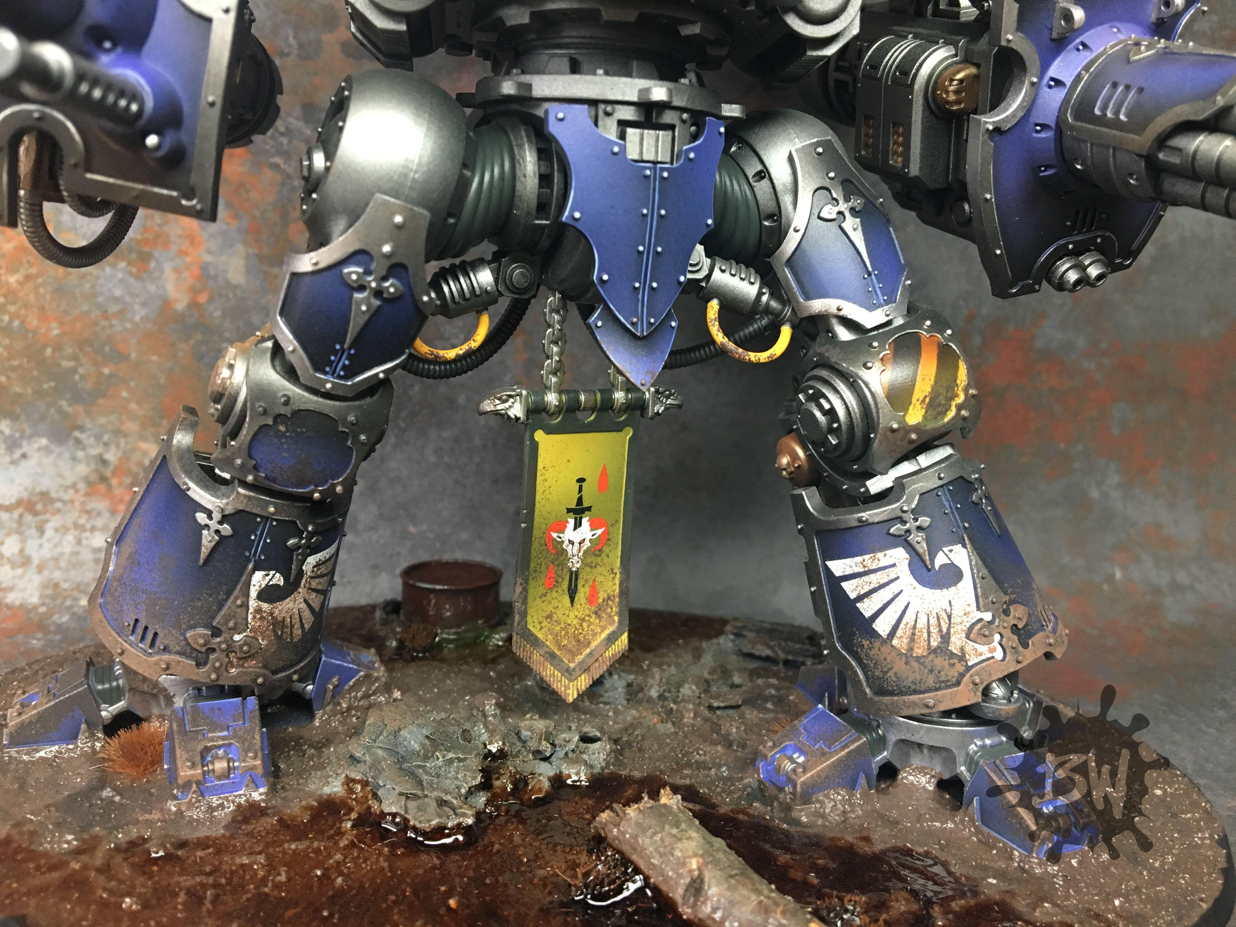 Bw, Commission, Imperial Knight Crusader, Imperium, Painting, Warhammer 40,000, Warhammer Fantasy