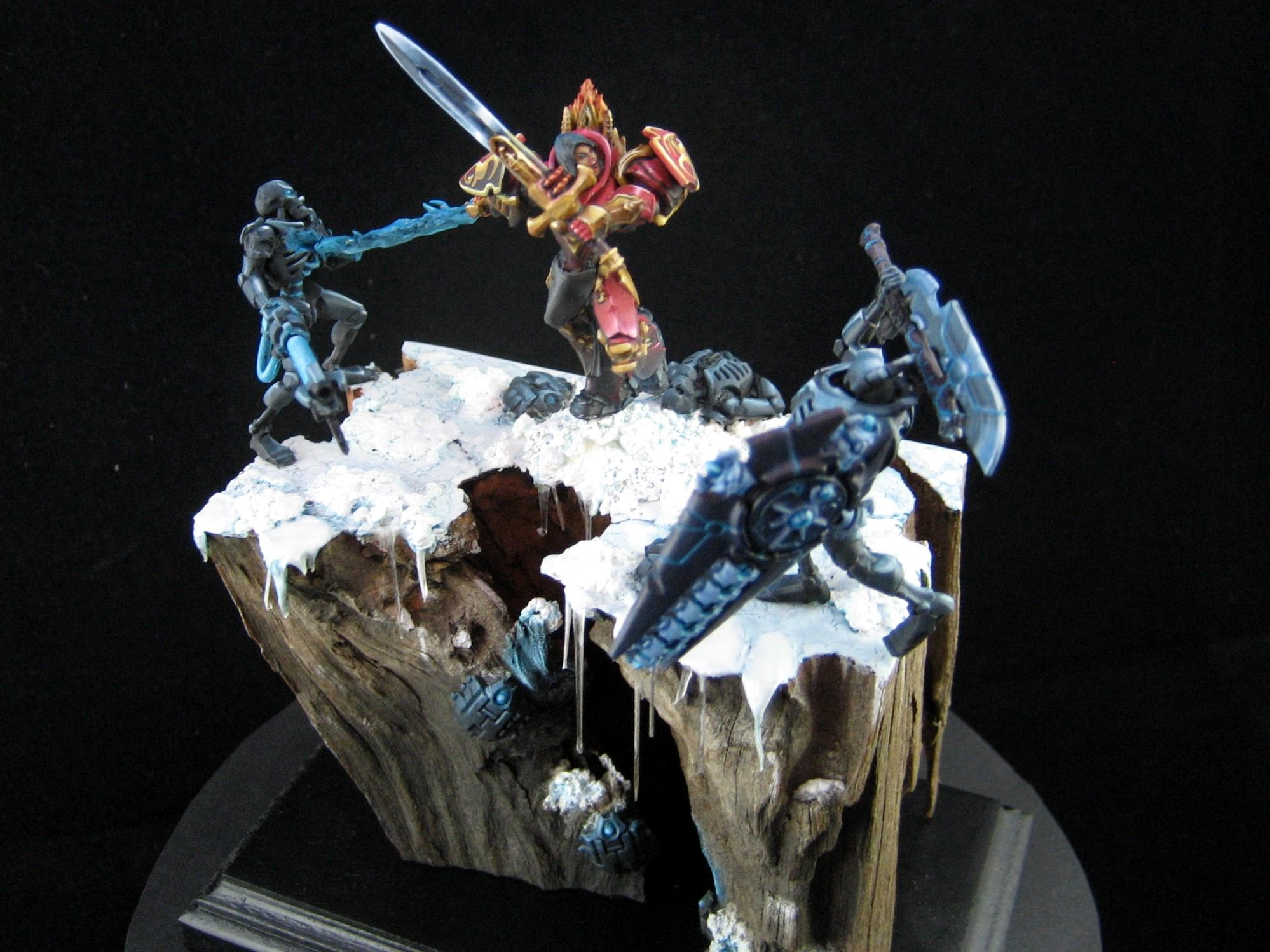 Ice, Necrons, Plinth, Swordswoman, Warriors