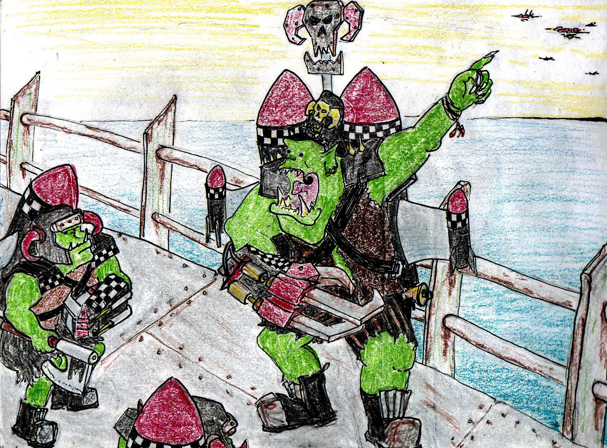 Cartoon, Comics, Drawing, Fiction, Graphic, Grots, Humour, Illustration, Orks, Sketch, Sketching, Warhammer 40,000