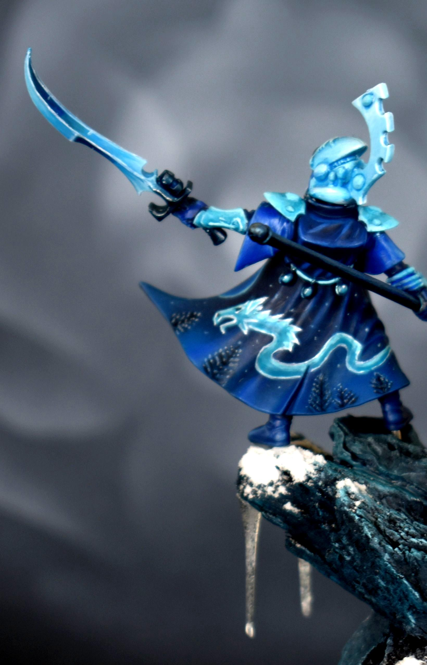 Blue, Eldar, Farseer, Ice, Icicles, Monochrome, Snow, Winter