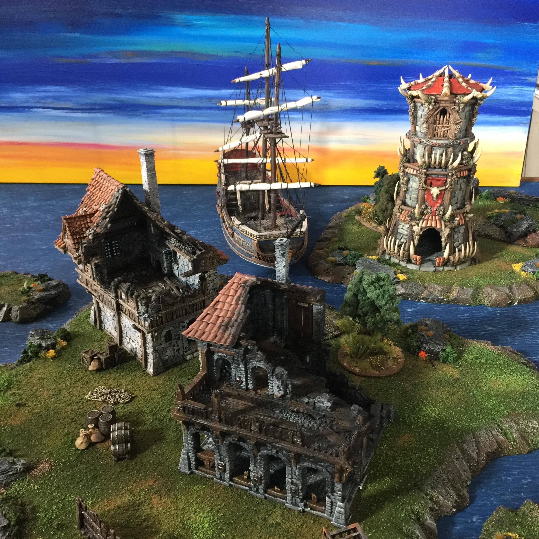 Board, Island, Naval, Ruins, Terrain