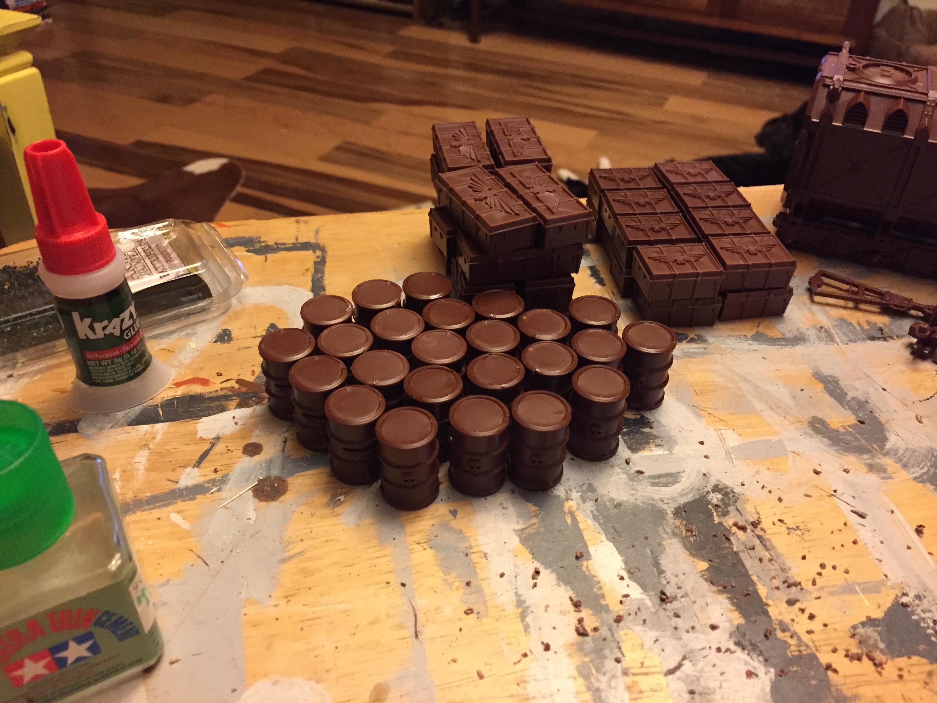 Barrels, Crates, Terrain, Warhammer 40,000, Work In Progress