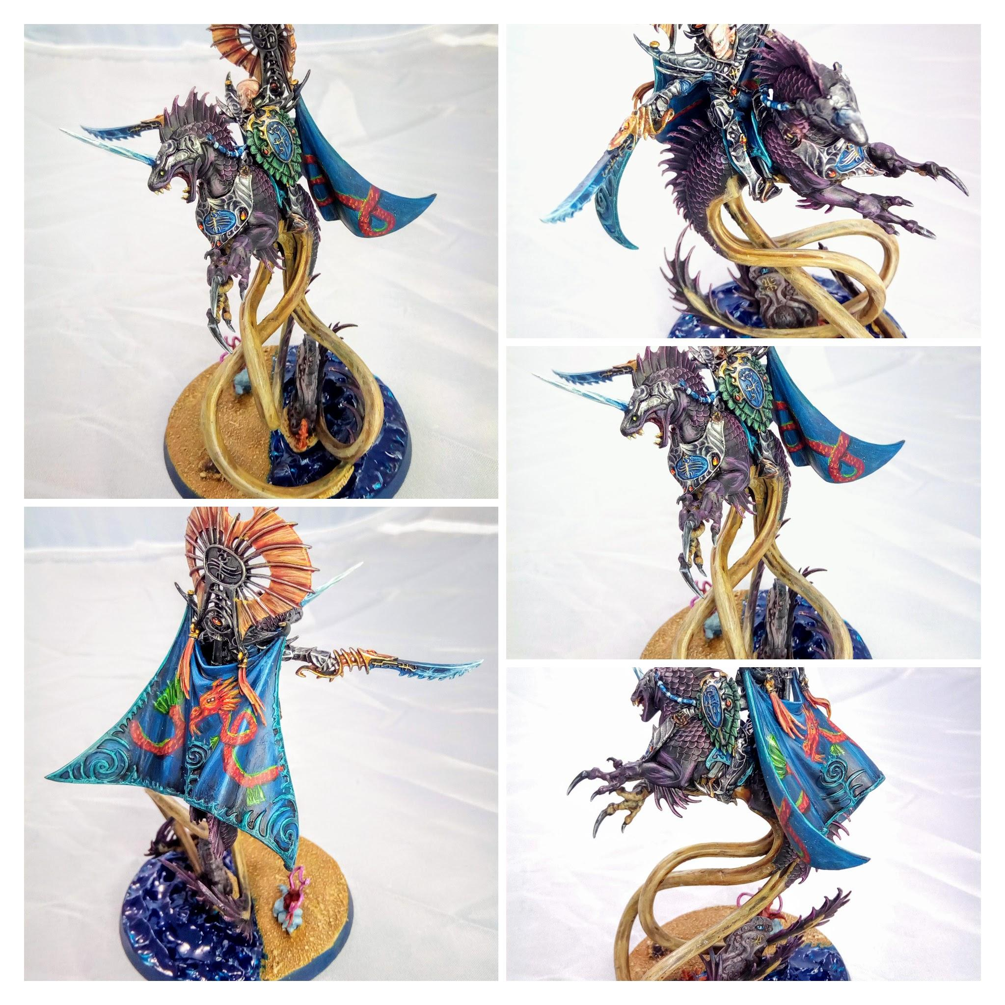 Aelf, Age Of Sigmar, Beach, Character, Dragon, Elves, Freehand, Idoneth Deepkin, Ionrach, Mounted, Sea Base, Volturnos