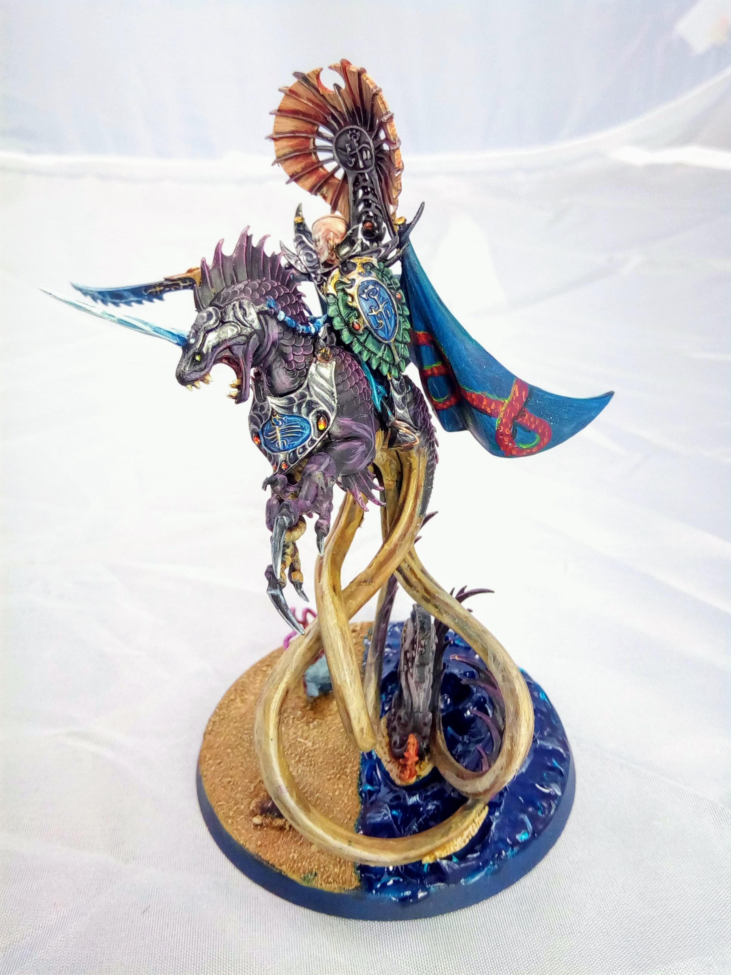 Aelf, Age Of Sigmar, Beach, Character, Dragon, Elves, Freehand, Idoneth Deepkin, Ionrach, Mounted, Sea Base, Volturnos