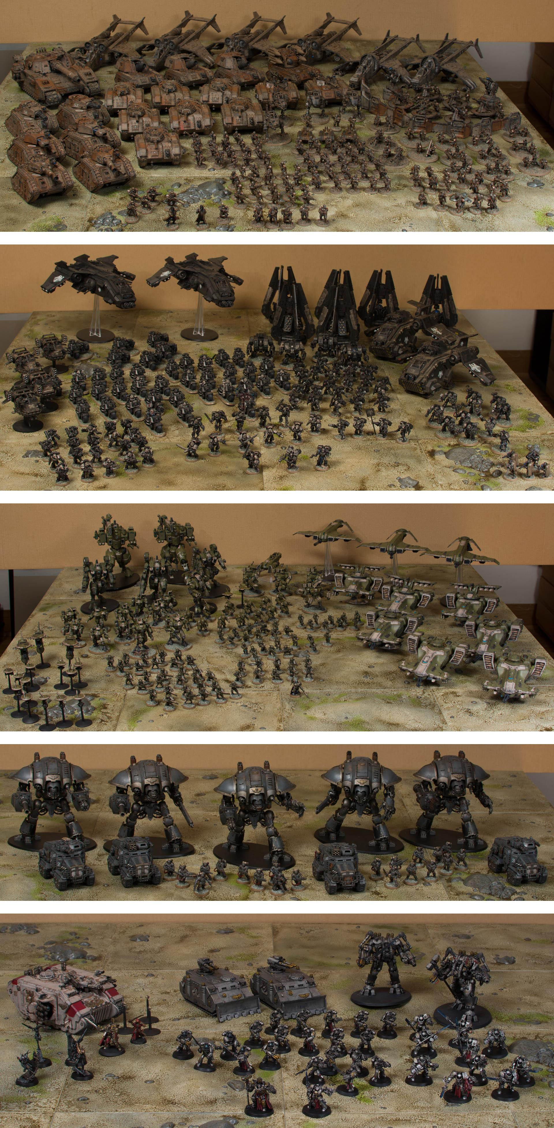 Armies, Grey Knights, Imperial Guard, Space Marines, Tau