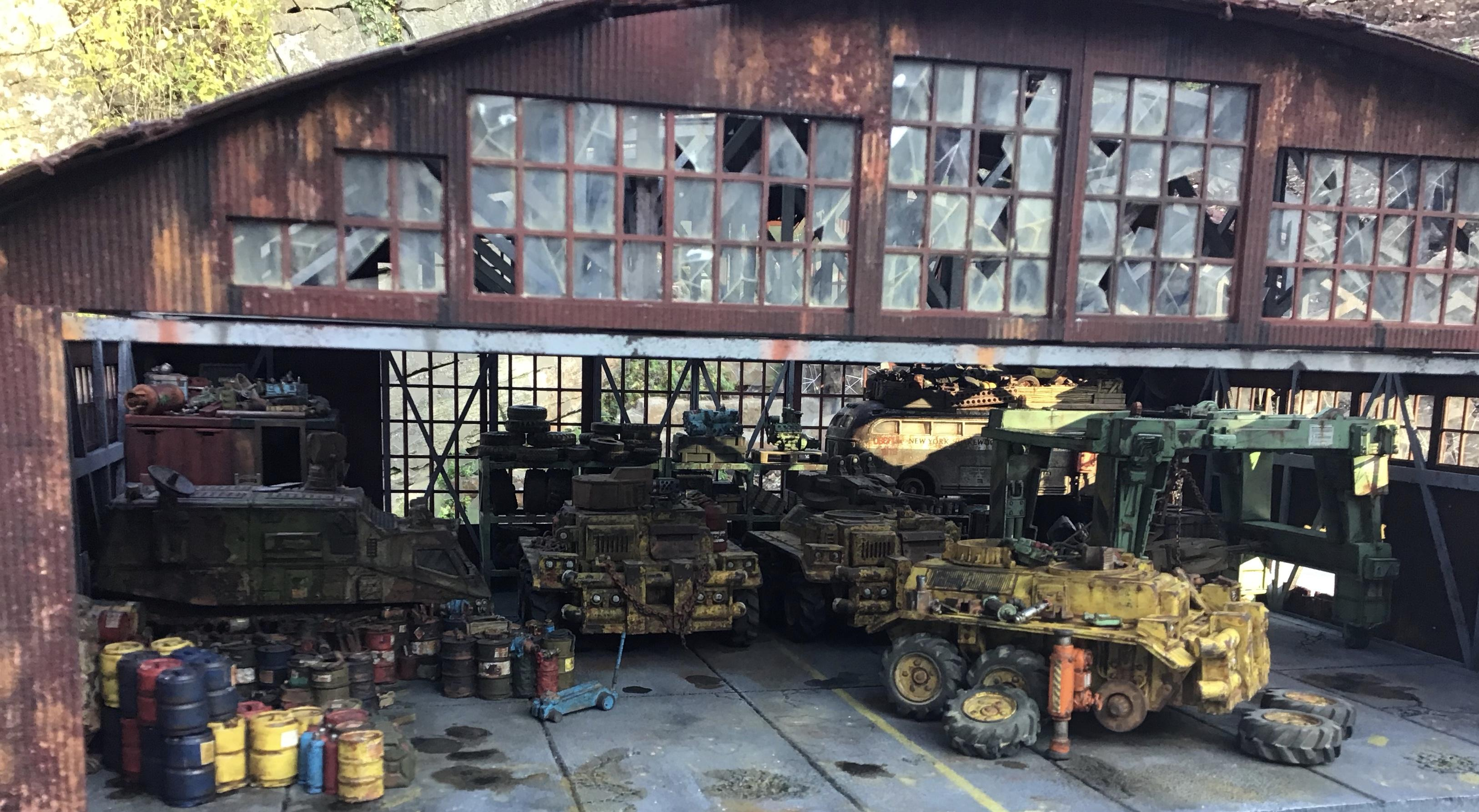 Barrels, Diorama, Vehicle, Workshop