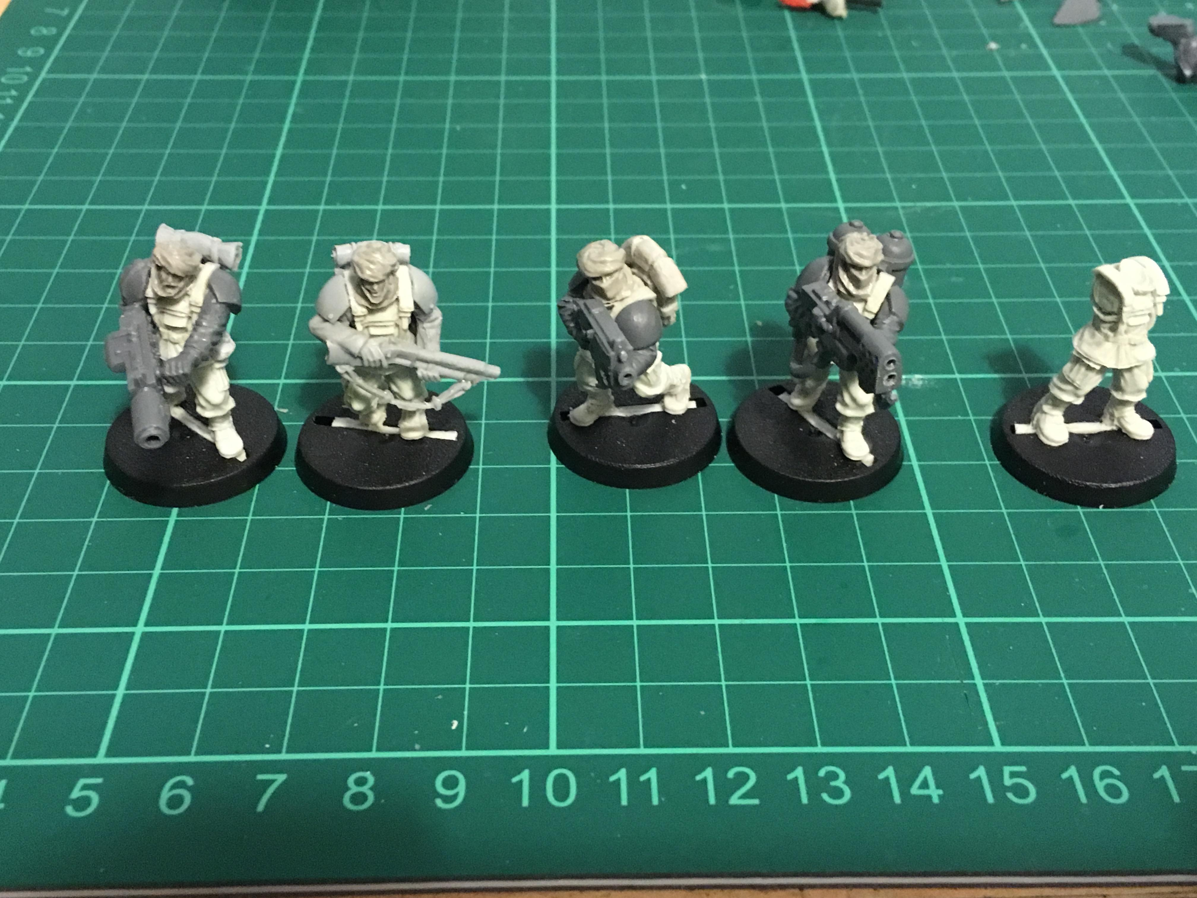 Boltgun, Conversion, Heavy Flamer, Imperial Guard, Meltagun, Shotgun, Tallarn Desert Raiders, Veteran, Victoria Miniatures