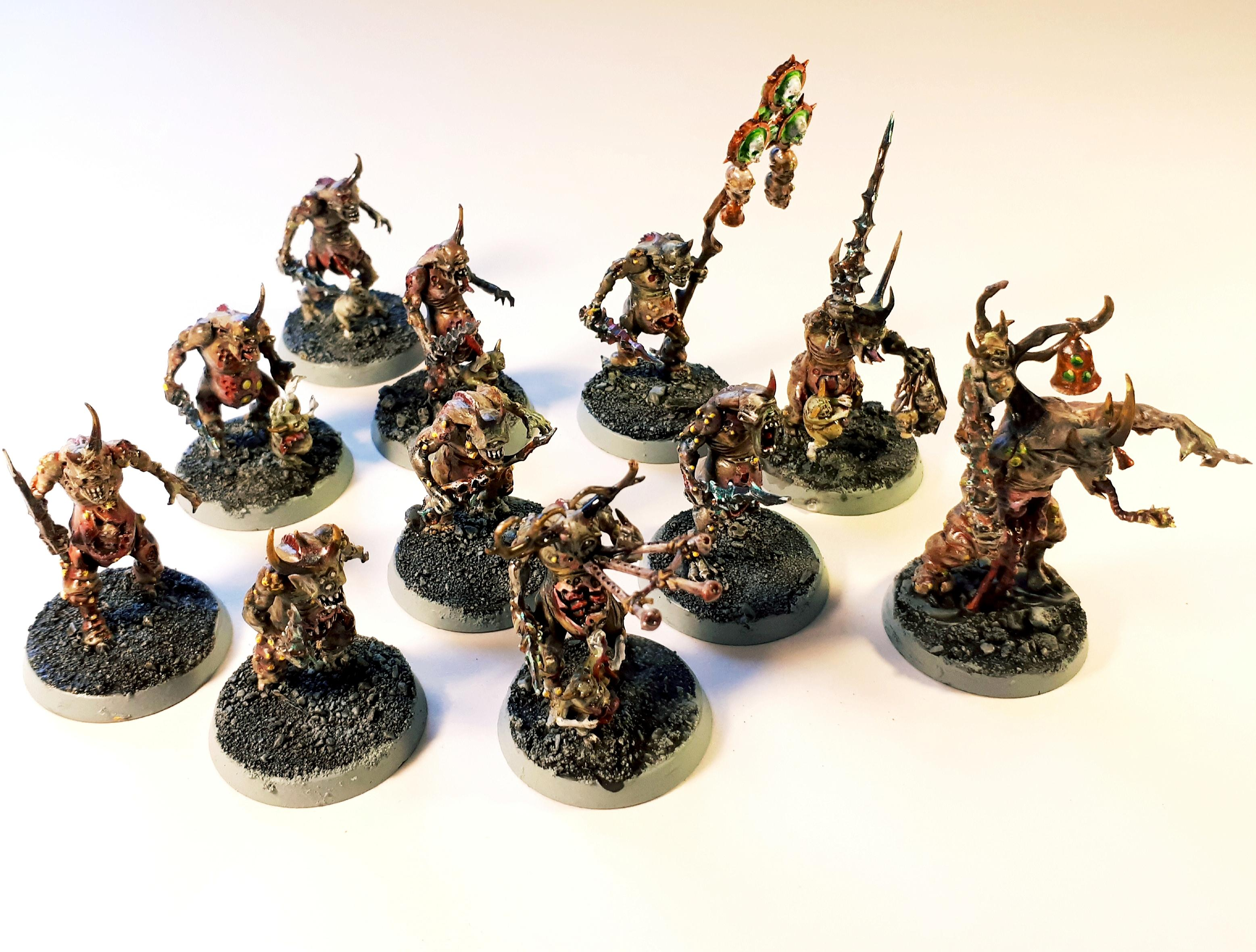 Age Of Sigmar, Daemons Of Chaos, Daemons Of Nurgle, Nurgle, Nurglings, Plague, Plague Drones, Plaguebearers, Play Painted, Warhammer 40,000