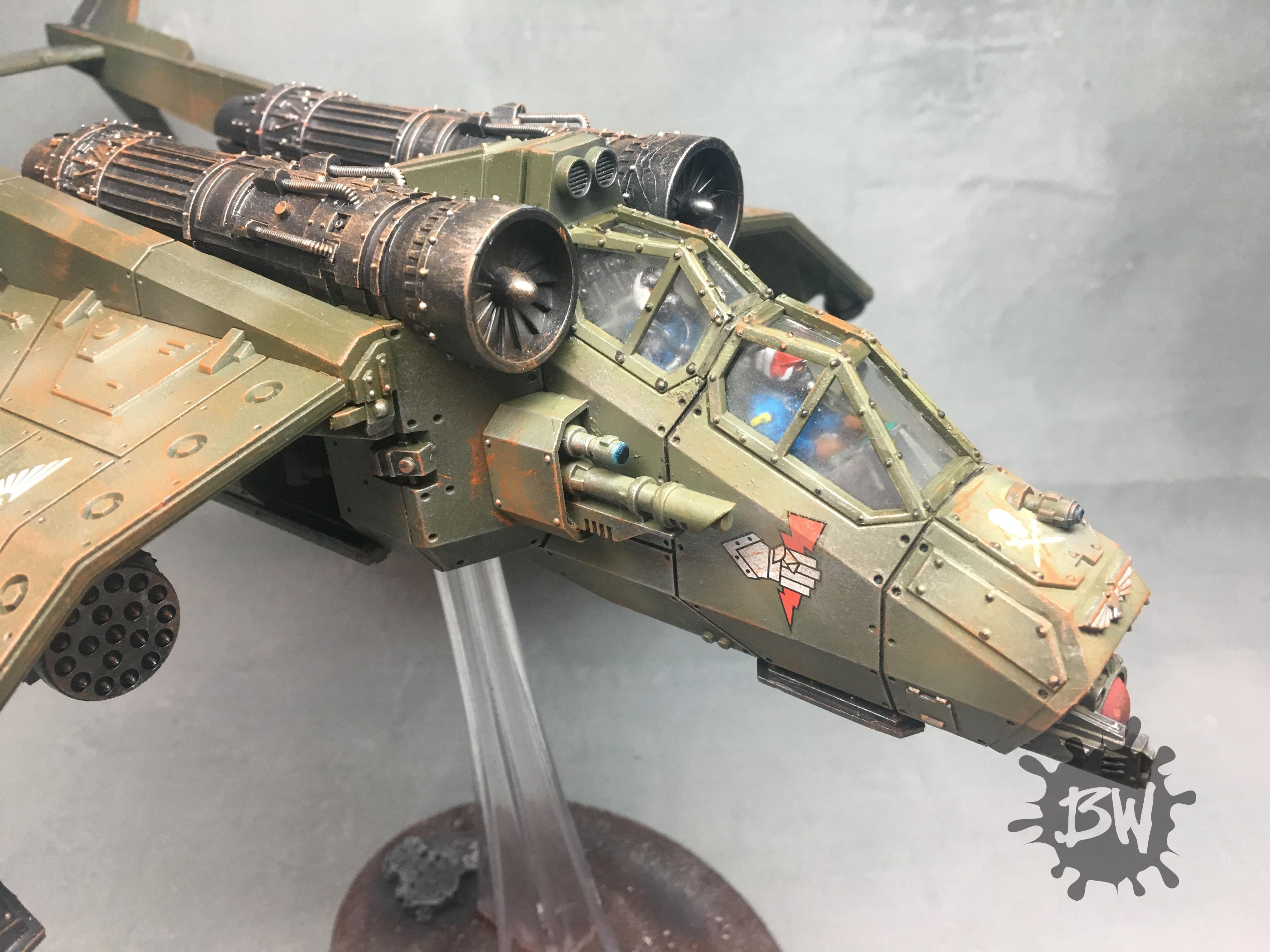 Bw, Flyer, Games Workshop, Imperial Guard, Imperium, Pro-painted, Valkyrie, Warhammer 40,000