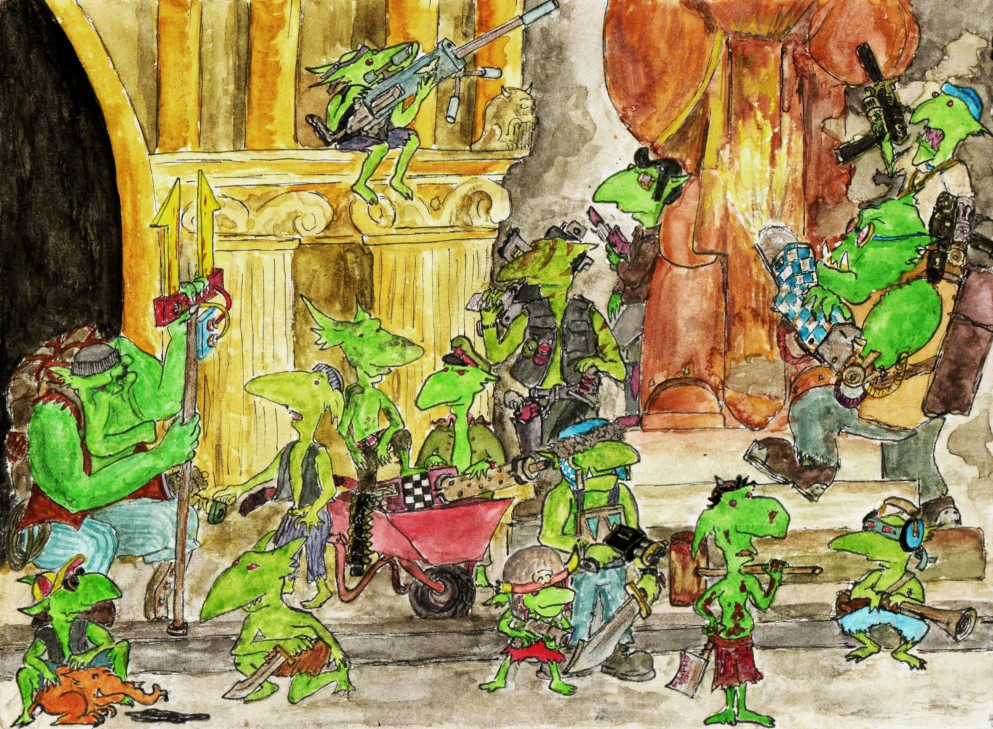 Cartoon, Drawing, Graphic, Grots, Humour, Illustration, Orks, Sketch, Watercolour