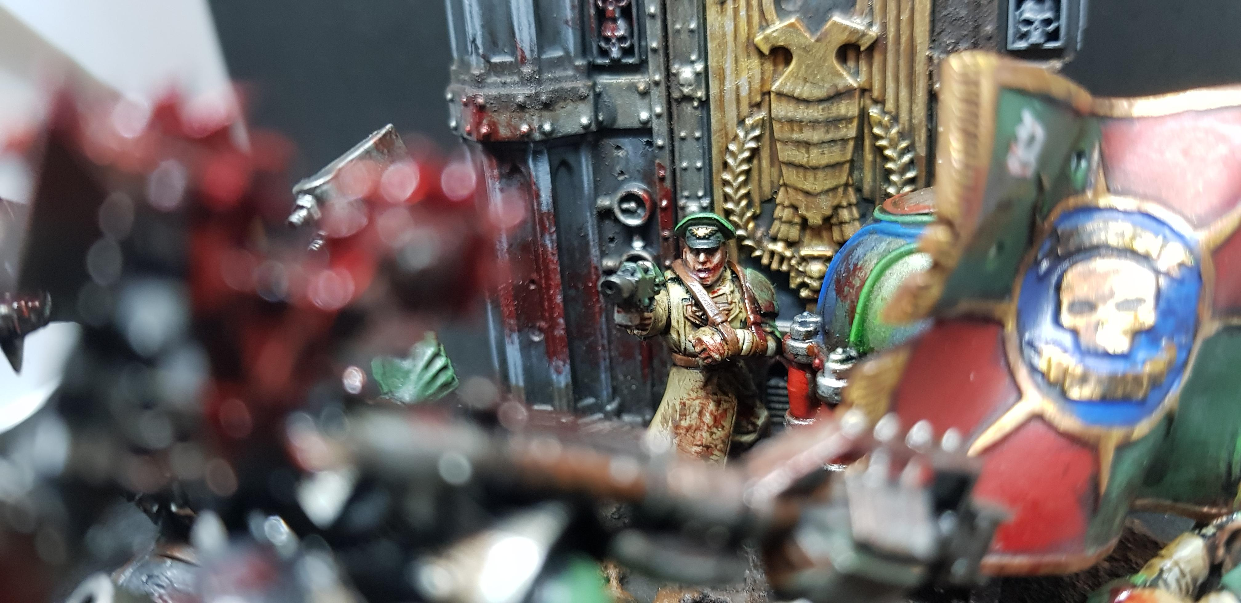 Boy, Cadians, Command Squad, Diorama, Exterminatus, Goff, Imperial Guard, Nob, Only In Death, Orks