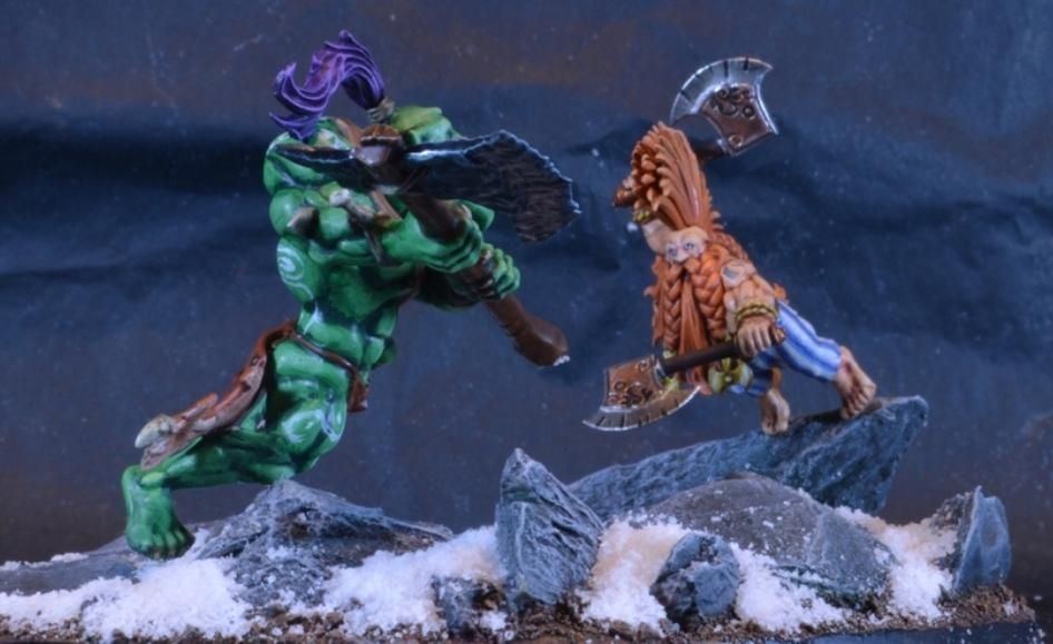 Boss, Diorama, Dragon Slayer, Dwarves, Fight, Orcs, Savage Orc, Snow
