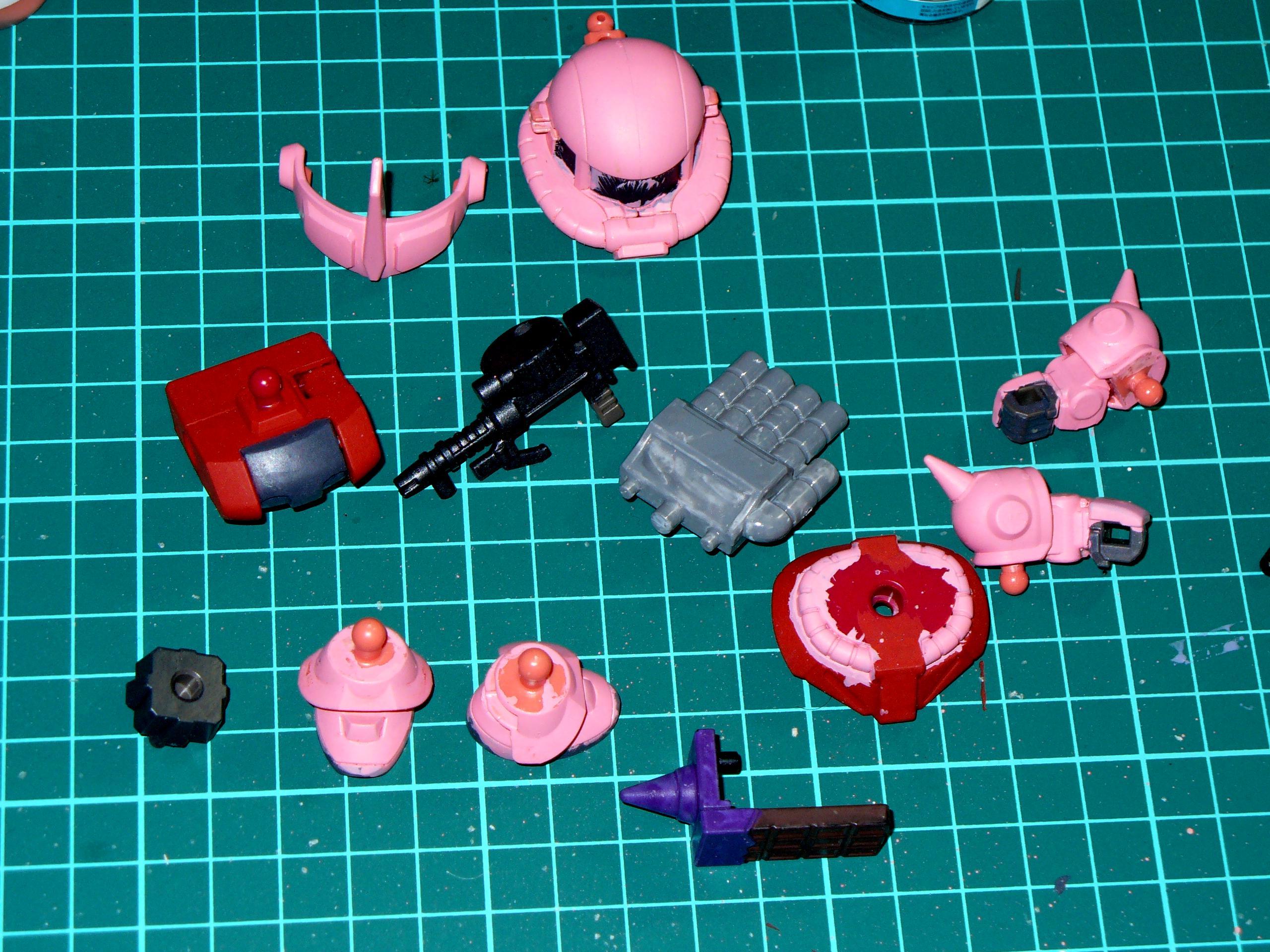 Char, Chibi, Gundam, Gunpla, Pink, Sd, Zaku