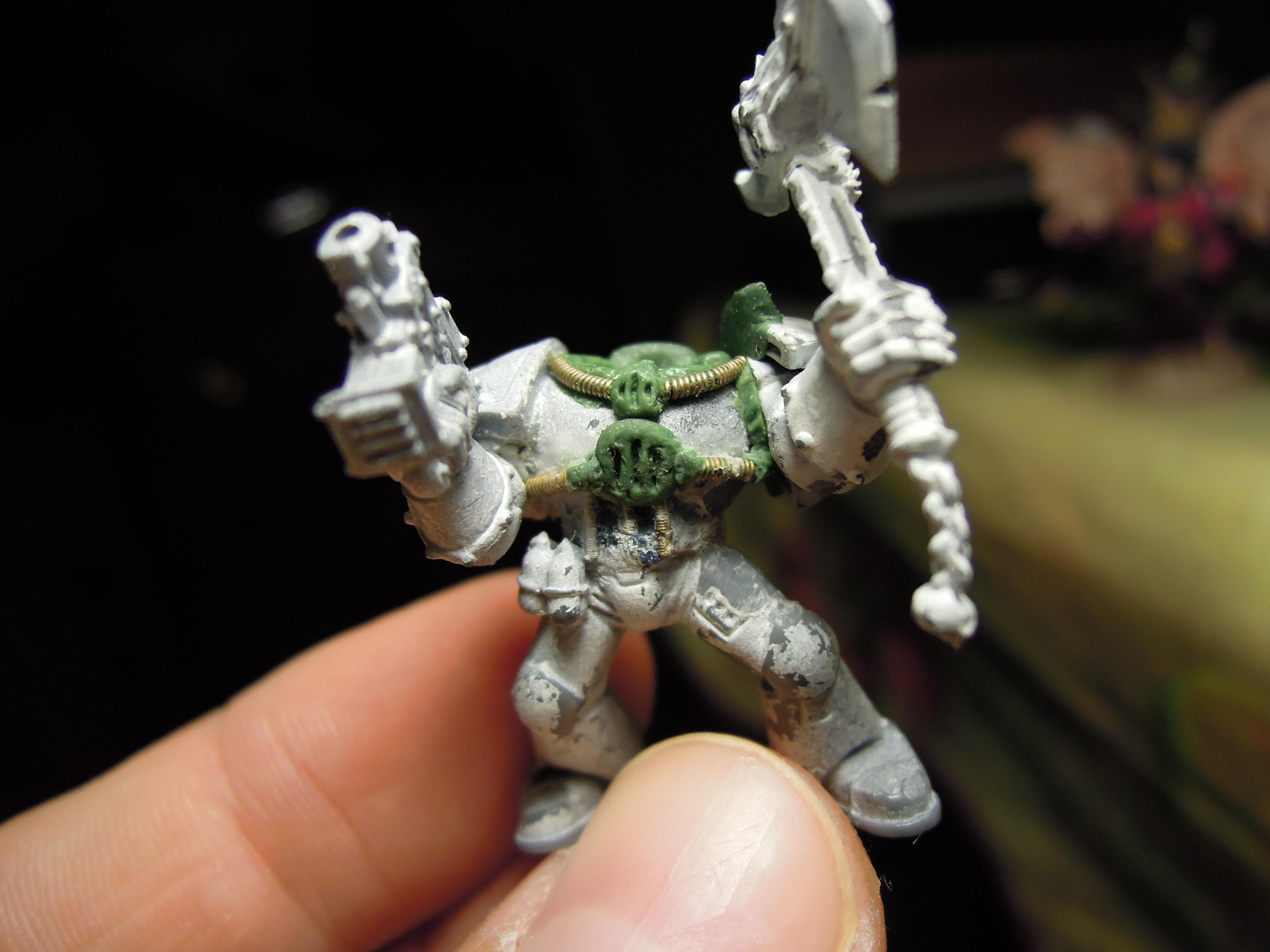 Aspiring Champion, Boltpistol, Chaos, Chaos Space Marines, Conversion, Greenstuff, Heretic Astartes, Iron Warriors, Iron Within, Iron Without!, Power Axe, Warhammer 40,000, Wire, Work In Progress