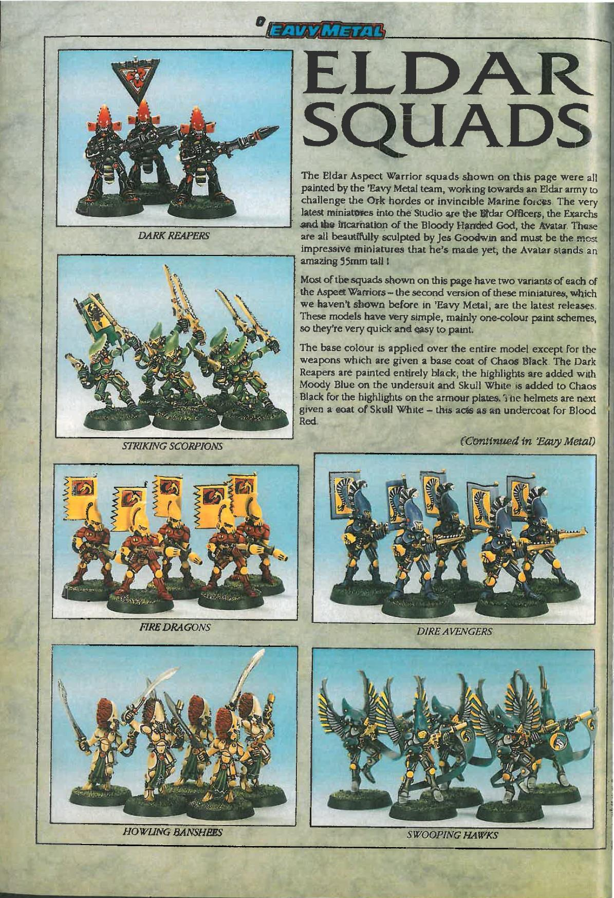 'eavy Metal, Aspect Warrior, Copyright Games Workshop, Dark Reapers, Dire Avengers, Eldar, Fire Dragon, Howling Banshees, Retro Review, Striking Scorpions, Swooping Hawks, Warhammer 40,000, White Dwarf