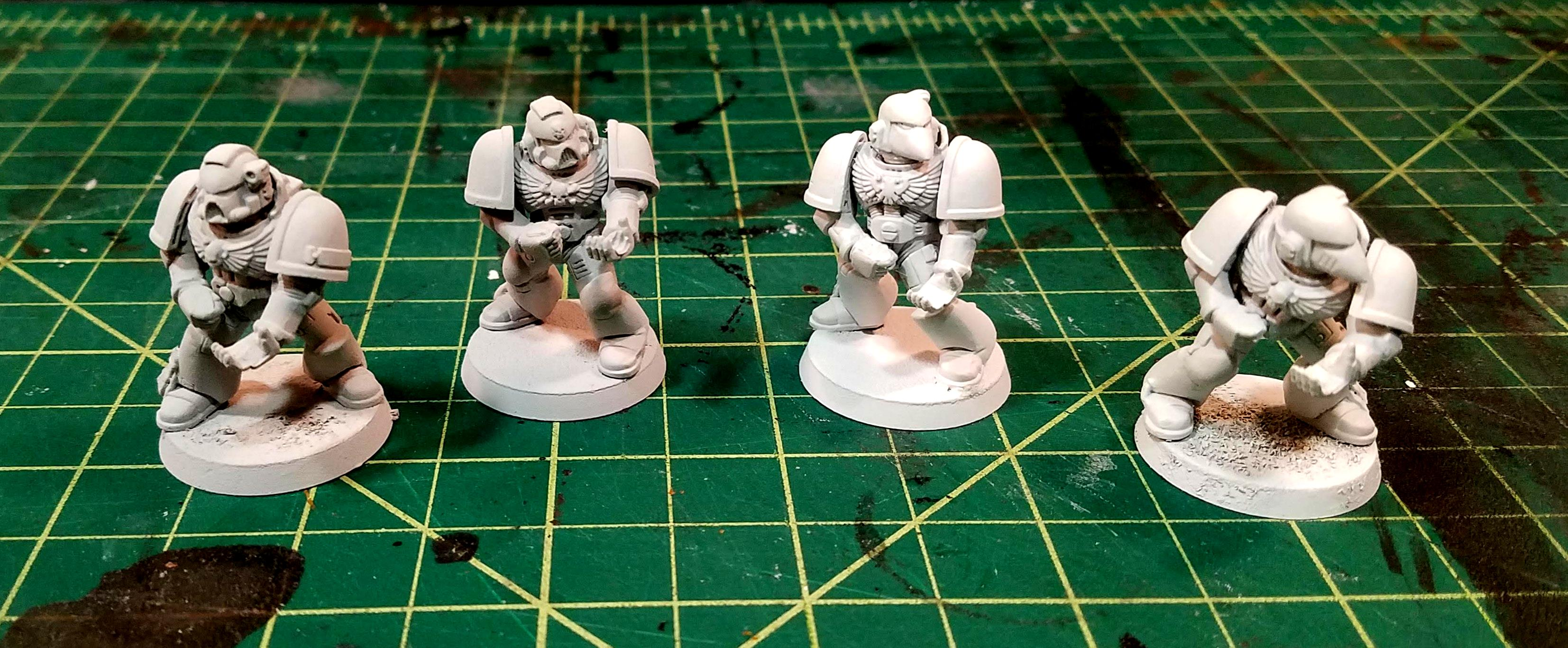 Corax White on the left, 2X Paint/Primer on the right