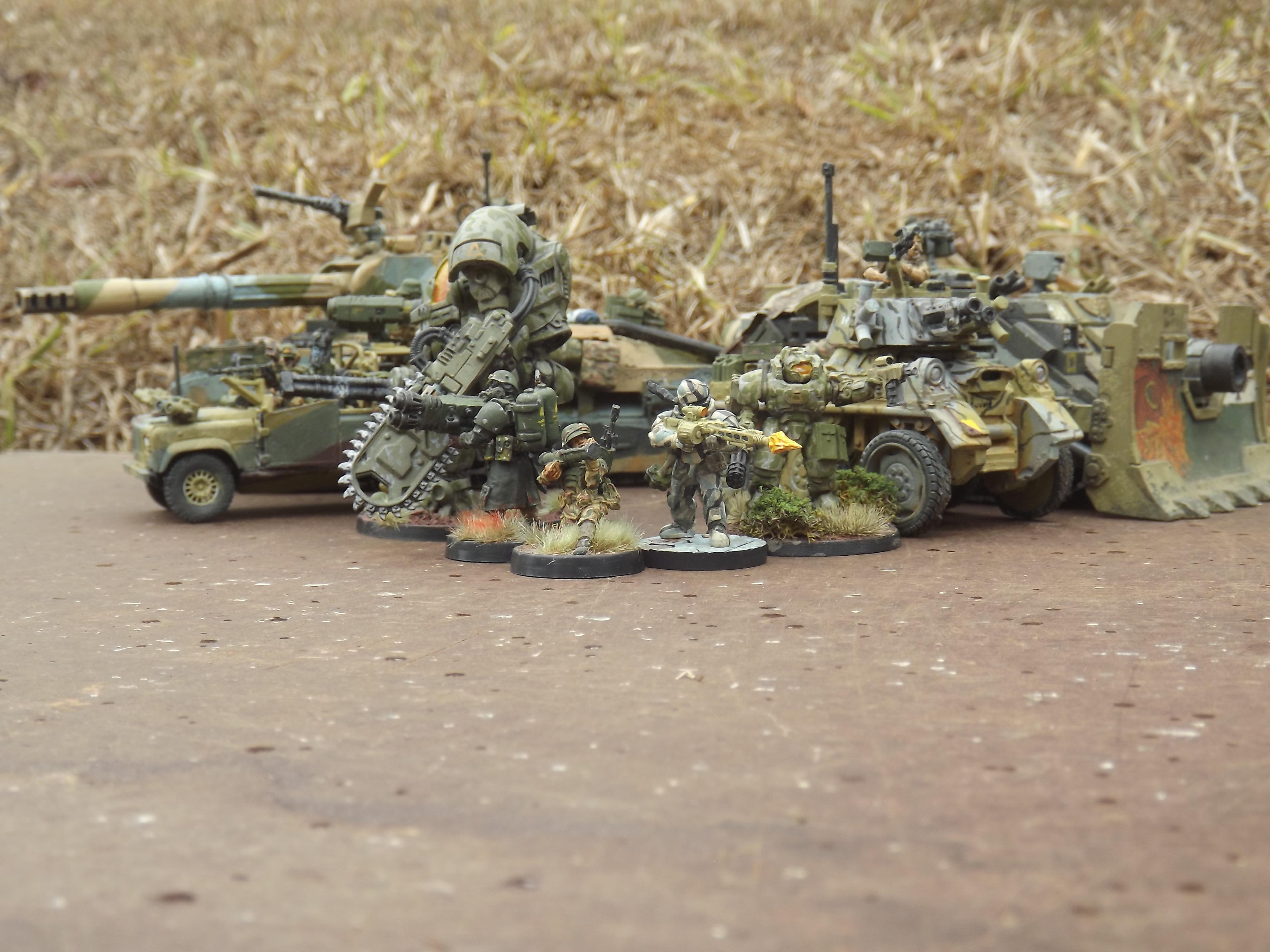 Ajax, Anvil Industry, Armoured Car, Chimera, Commando, Conversion, Grenadier, Landrover, Mantic Games, Mech, Ramshackle Games, Rifleman, Tamiya, Tank, Turret, Victoria Miniatures, Vindicator, Wmik