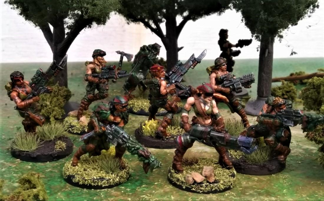 Astra Militarum, Camouflage, Catachan, Cloaks, Female, Girls, Imperial Guard, Infantry, Jailbirds, Jungle Fighters, Raging Heroes, Snipers, Tanith