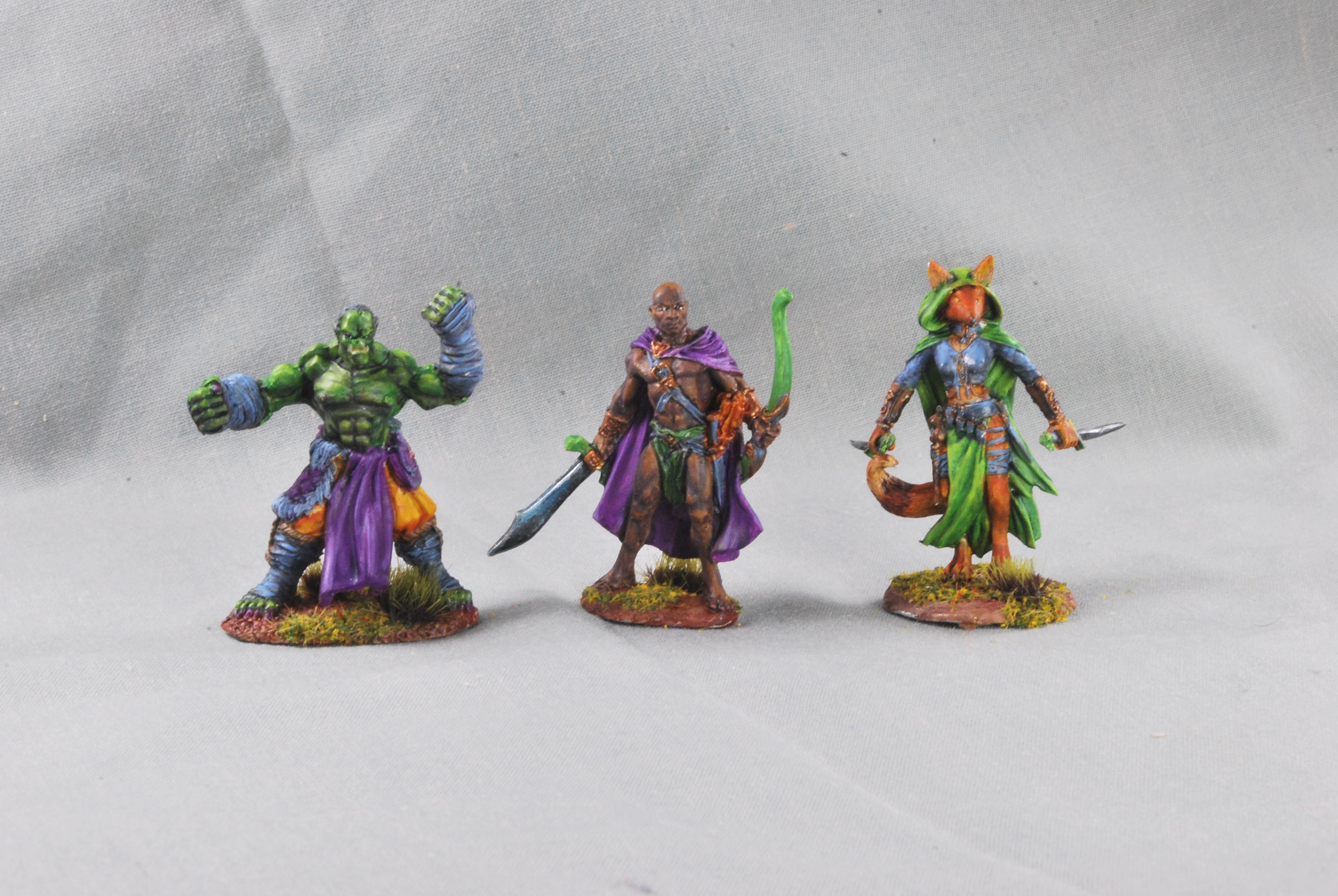 African Skin Tone, Dakka Painting Challenge 2020, Dark Sword Miniatures, Fox Folk, Green Skin Tone, Monk, Orcs, Rangers, Reaper, Rogue, Terrible Fur